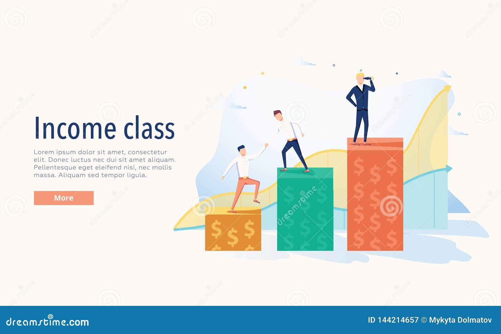 Иллюстрация вектора класса дохода Концепция богатства плоско 3 людей уровней крошечная Диаграмма экономической системы символичес