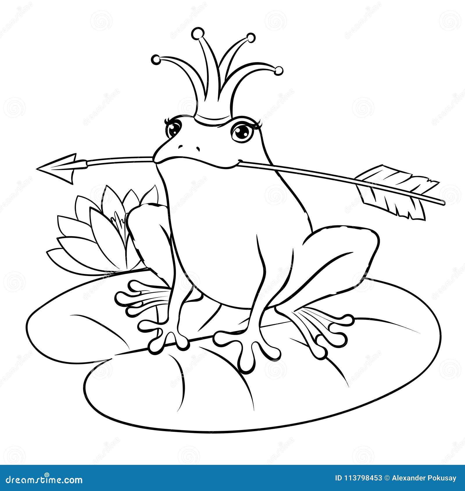 иллюстрация вектора книжка раскраски принцессы лягушки