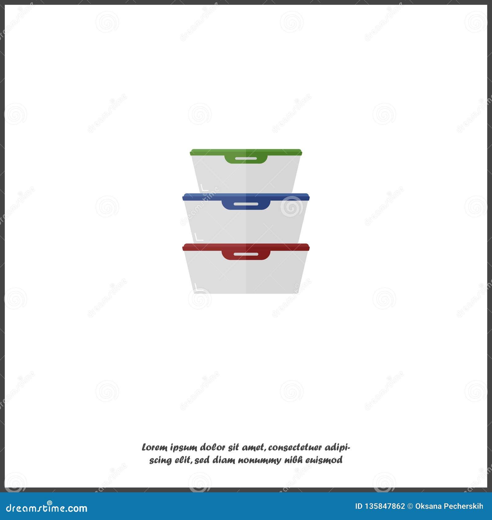 Иллюстрация вектора контейнера для продуктов Поднос пластмассы или стекла для хранения еды и изолированный обед на белом