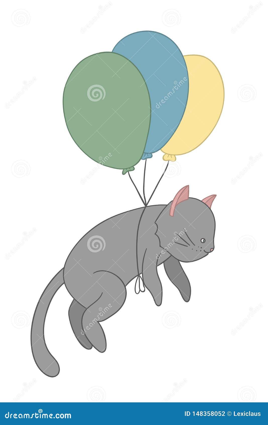 Иллюстрация вектора летания кота на покрашенных воздушных шарах
