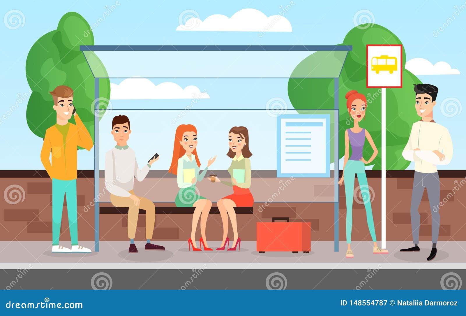 Иллюстрация вектора людей ждать автобус Люди стоящ, говорить и сидеть на автовокзале, концепции автобусной остановки