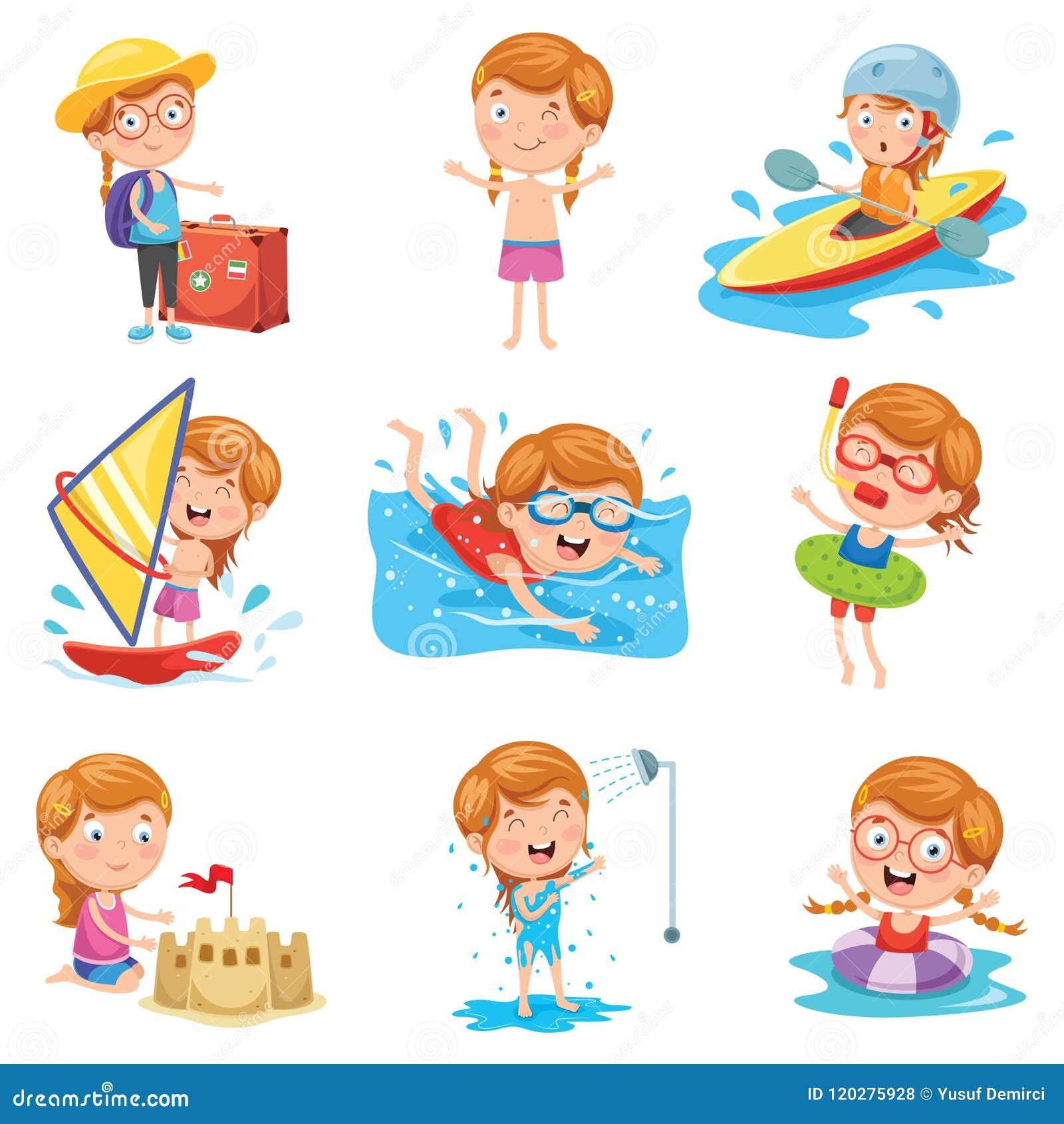 Иллюстрация вектора маленькой девочки на летнем отпуске