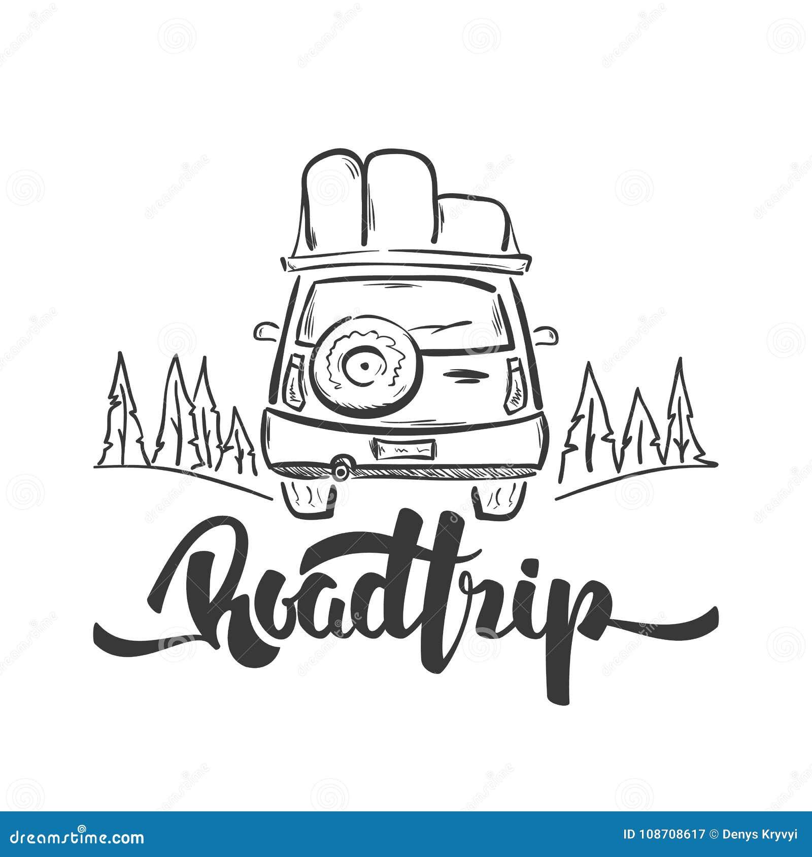 Иллюстрация вектора: Нарисованный рукой автомобиль перемещения и рукописная литерность поездки Линия дизайн эскиза