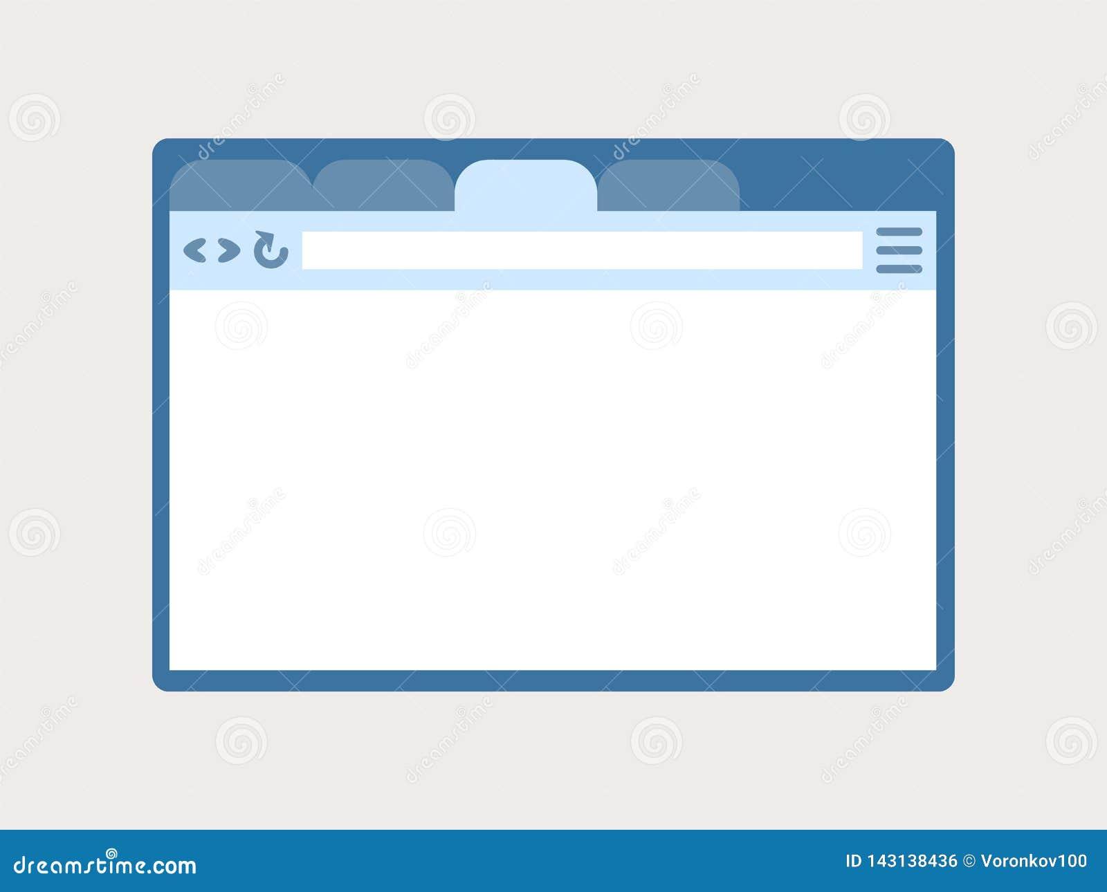 Иллюстрация вектора окна браузера, интерфейса r Концепция социальных сетей, средств массовой информации Изолированный элемент диз