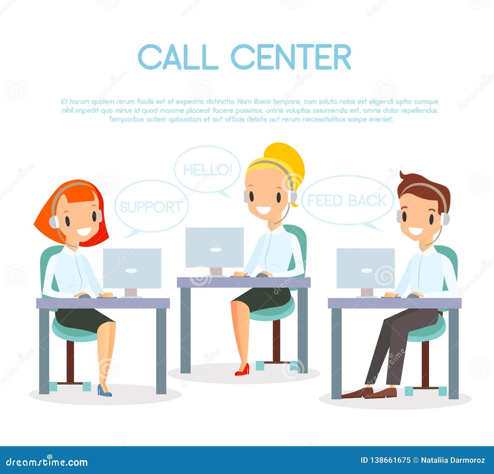 Иллюстрация вектора операторов центра телефонного обслуживания Обслуживание клиента и онлайн концепция поддержки Представитель це