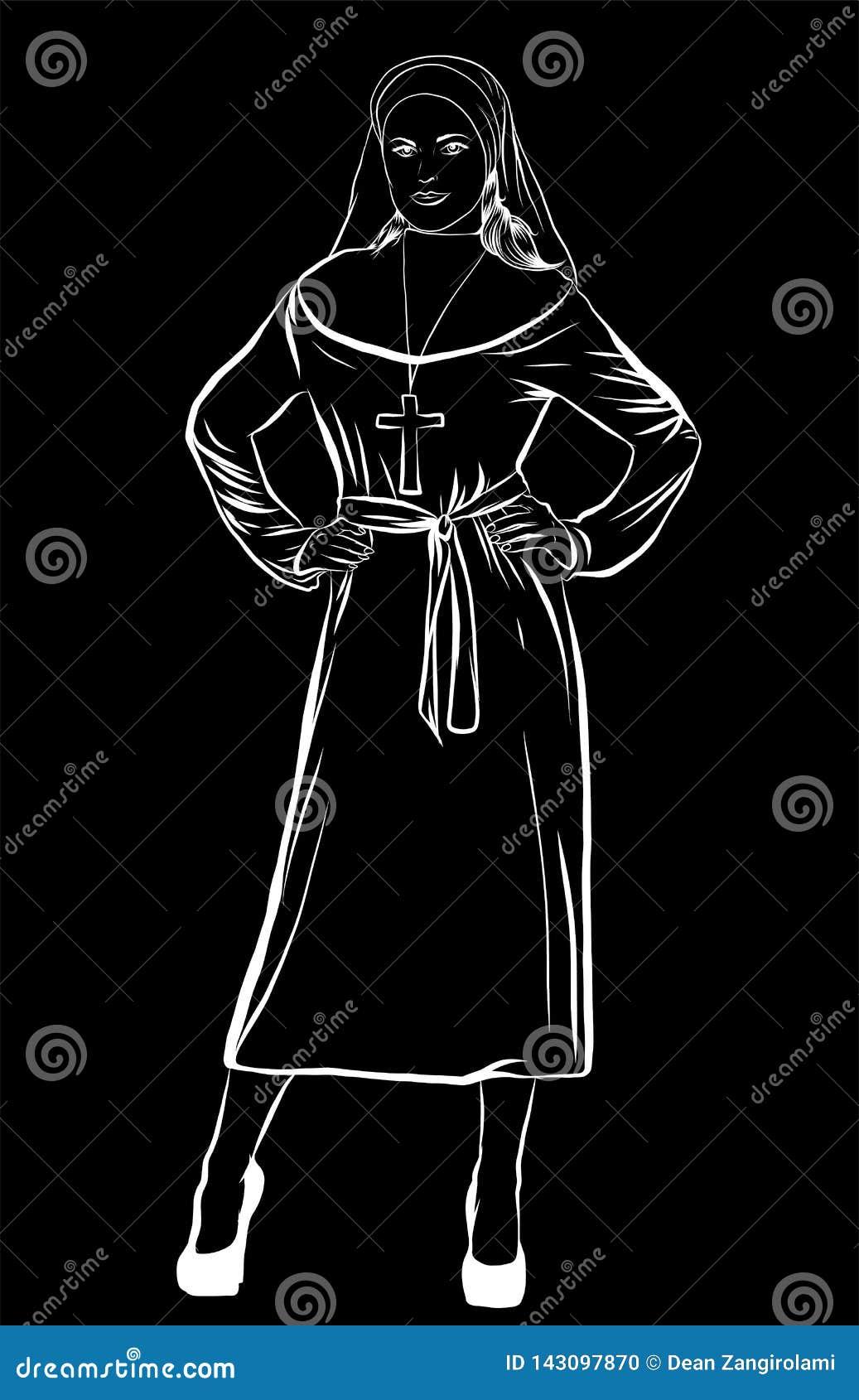 Иллюстрация вектора предпосылки сексуального whit монашки черной