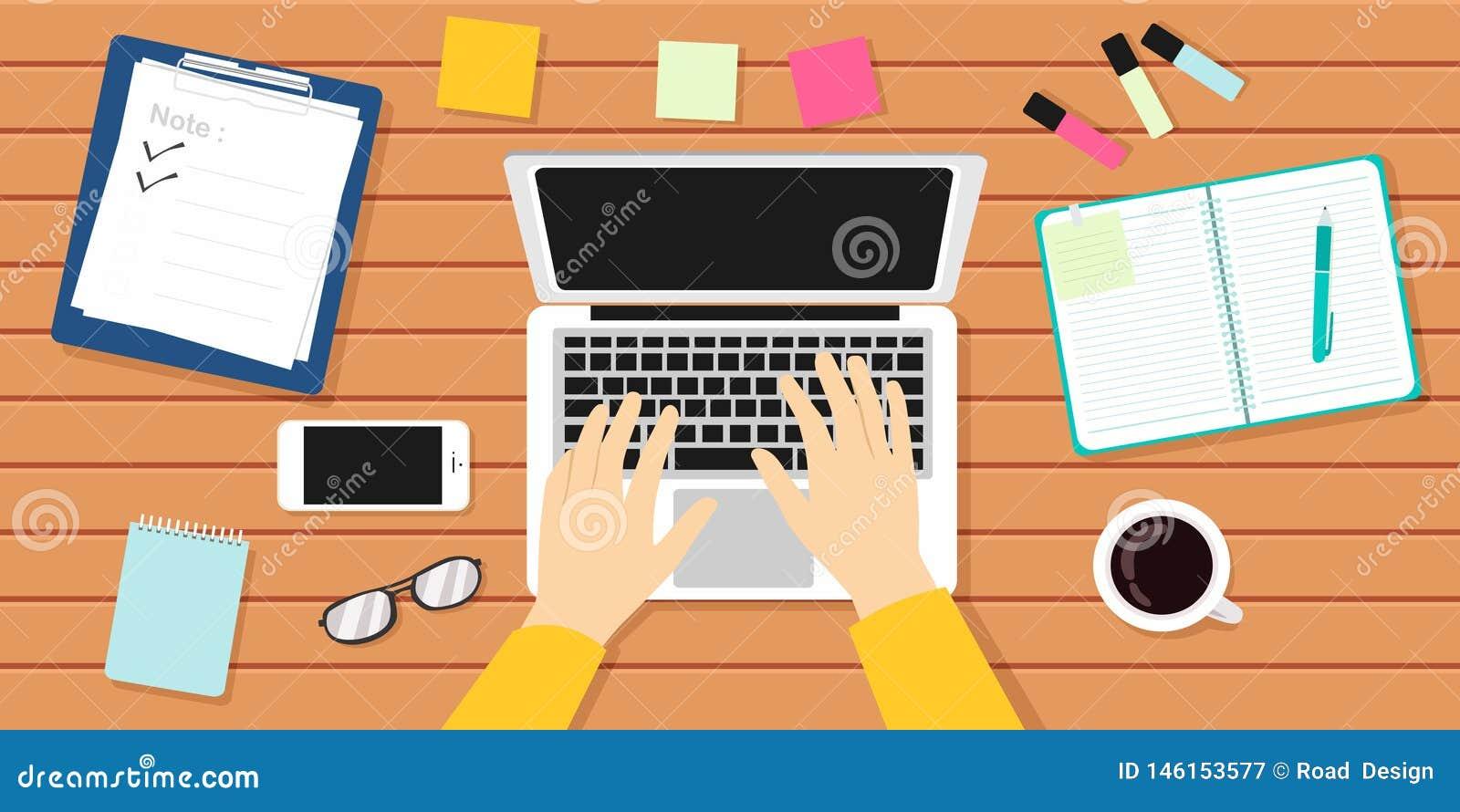 Иллюстрация вектора рабочего места писателя Автор, журналист, ноутбук