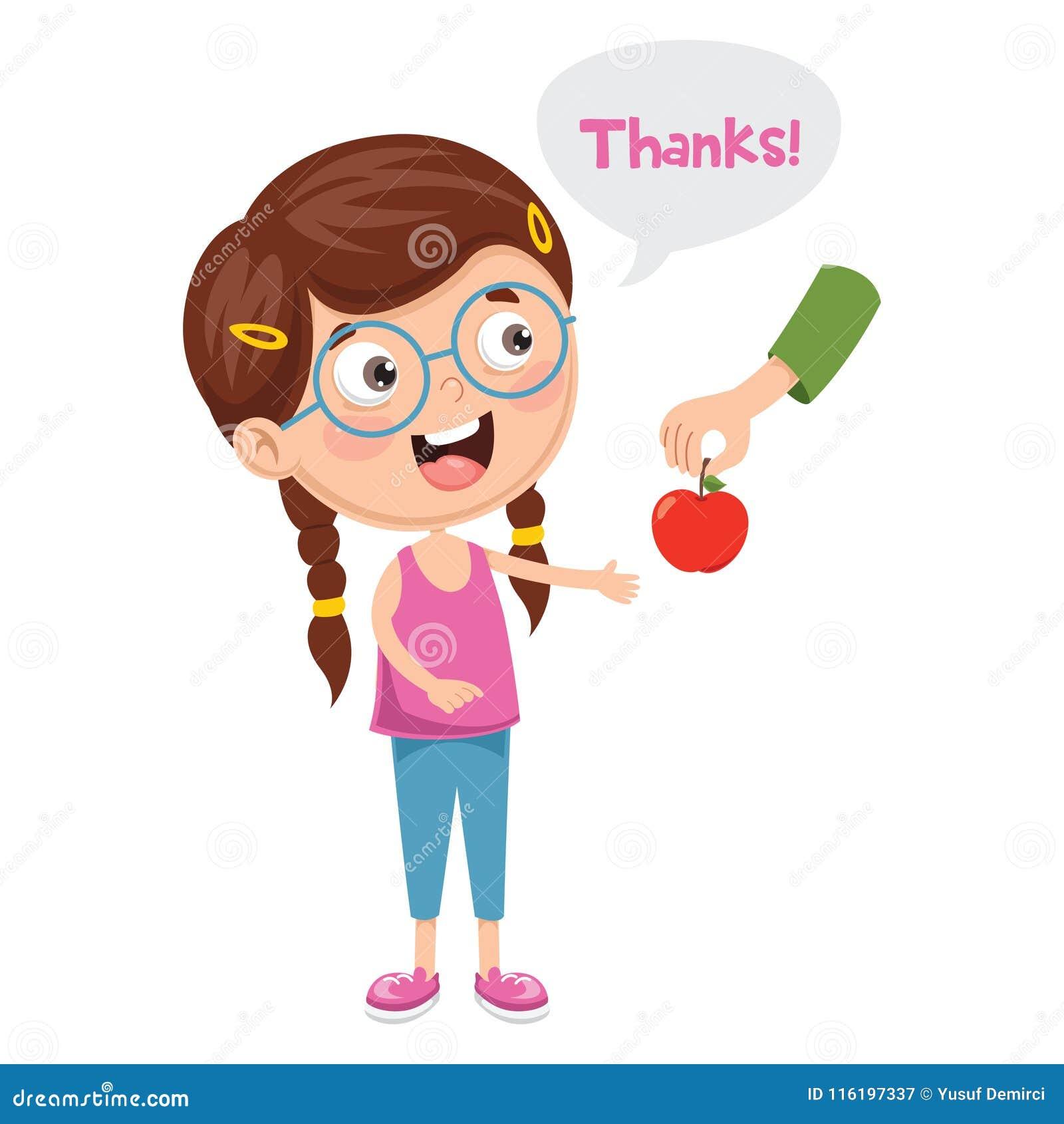Иллюстрация вектора ребенк дает спасибо