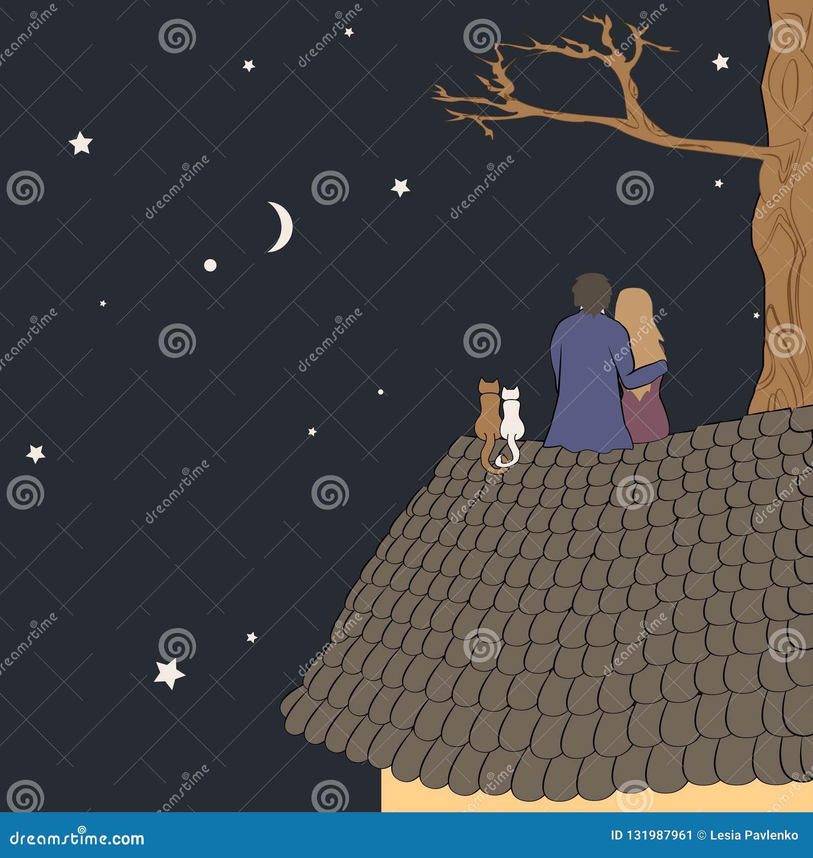 Иллюстрация вектора руки вычерченная любя пар сидя на крыше, смотря луну под звездами в ночном небе с текстом