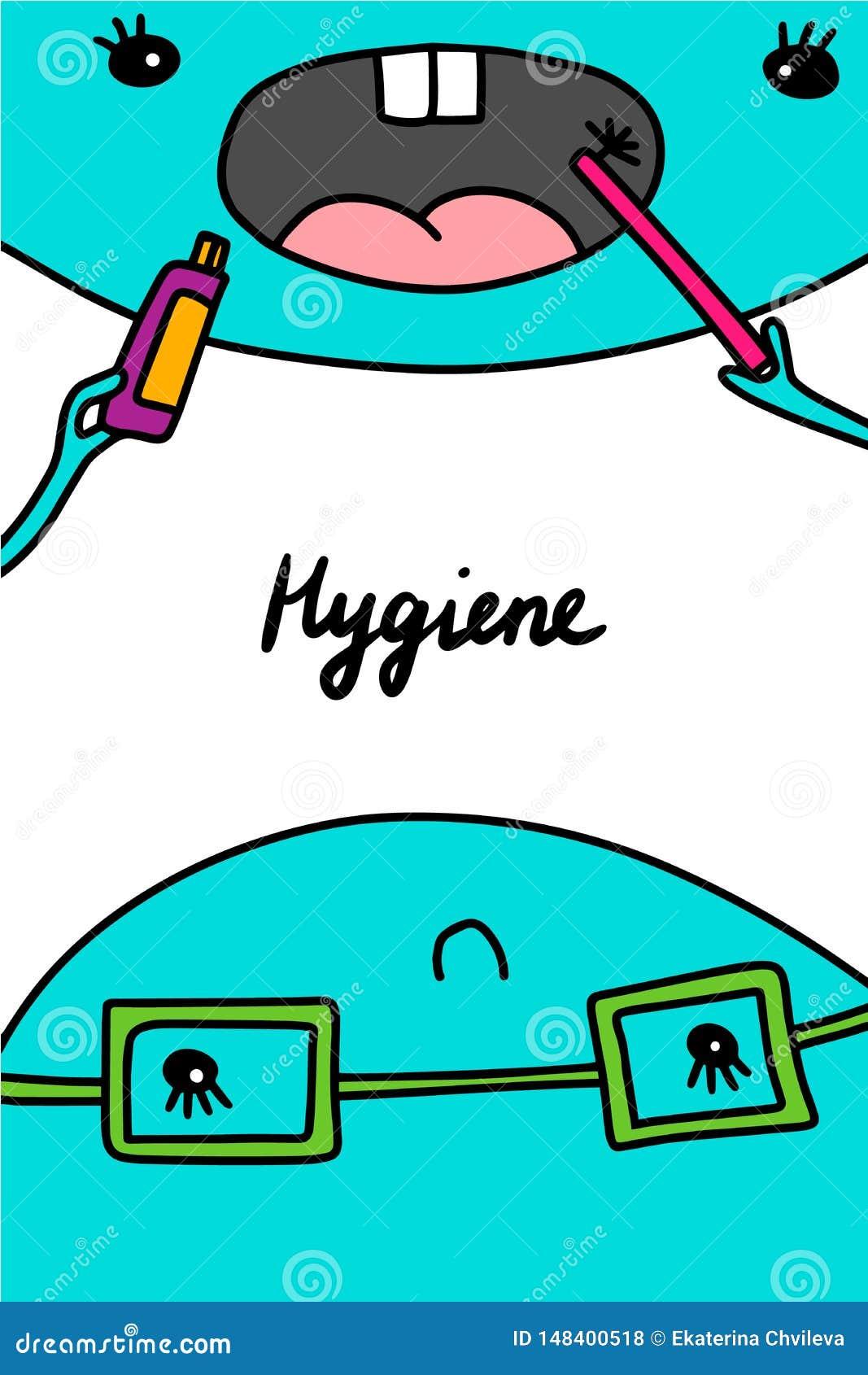 Иллюстрация вектора руки гигиены вычерченная в стиле мультфильма Преподавательство чистя щеткой чистки
