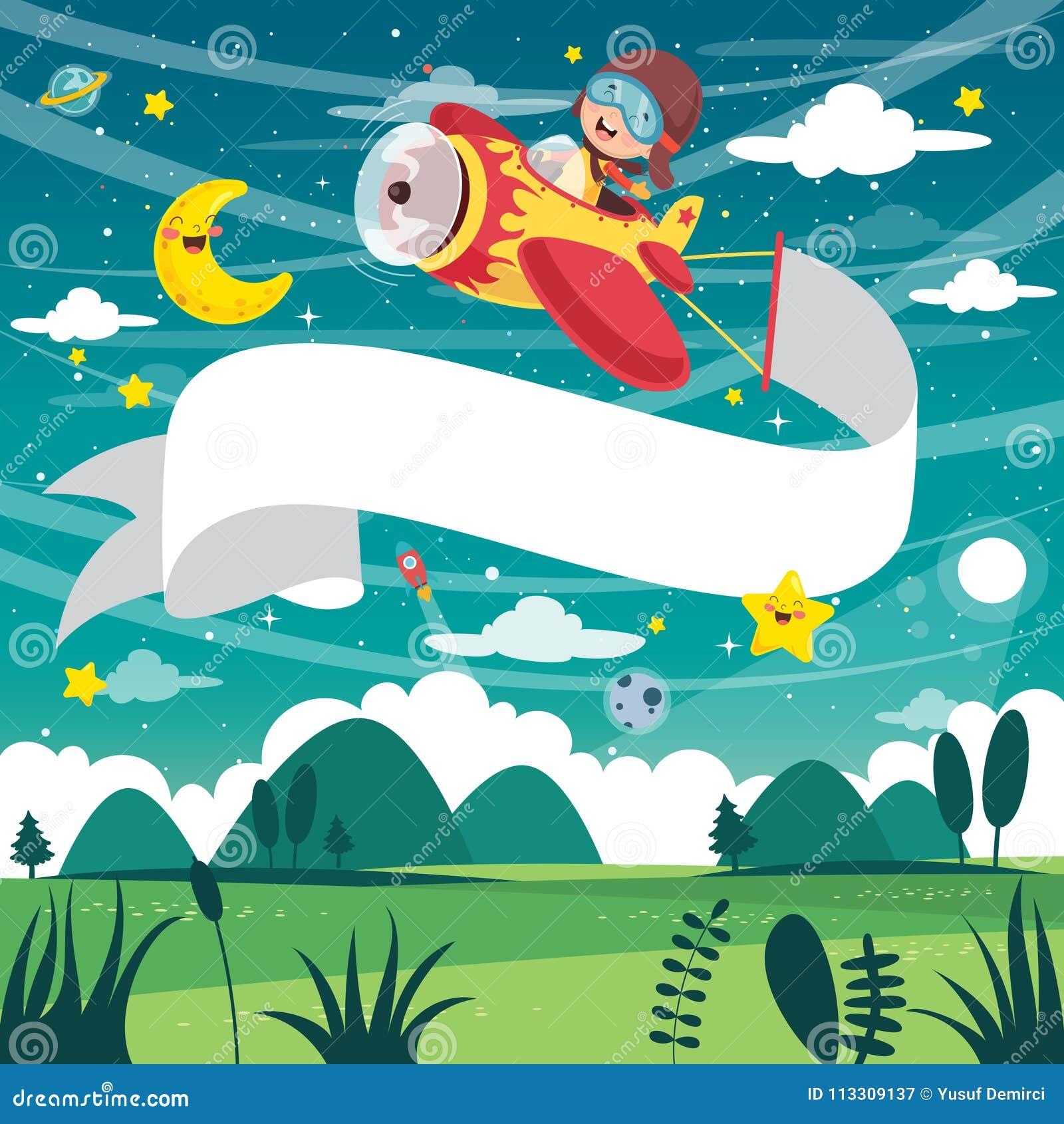 Иллюстрация вектора самолета летания ребенк с знаменем