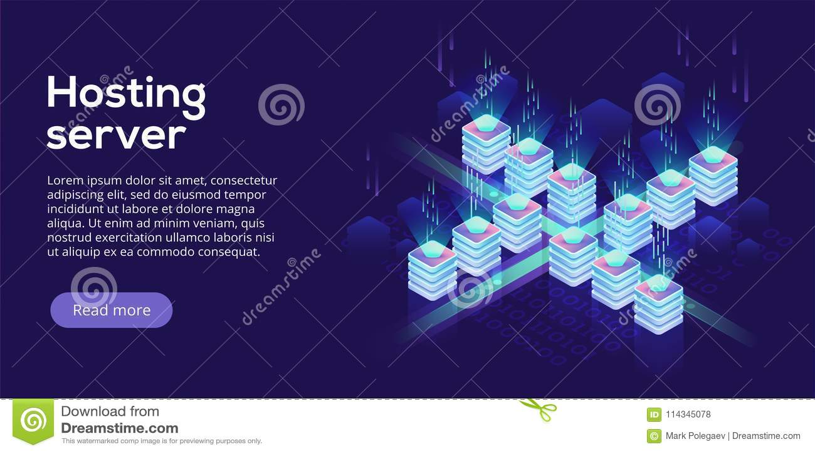 Иллюстрация вектора сервера хостинга равновеликая Абстрактное datace 3d