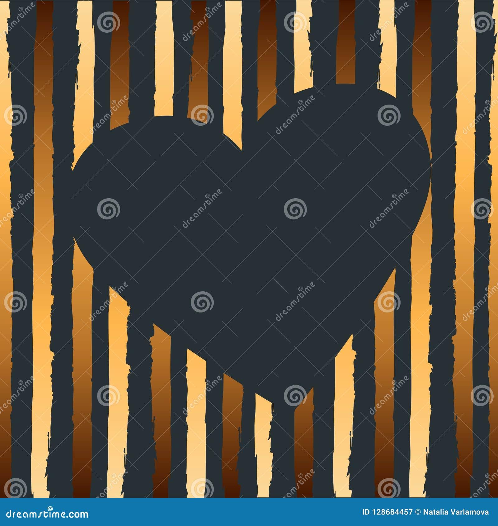Иллюстрация вектора с сердцем и золотыми нашивками
