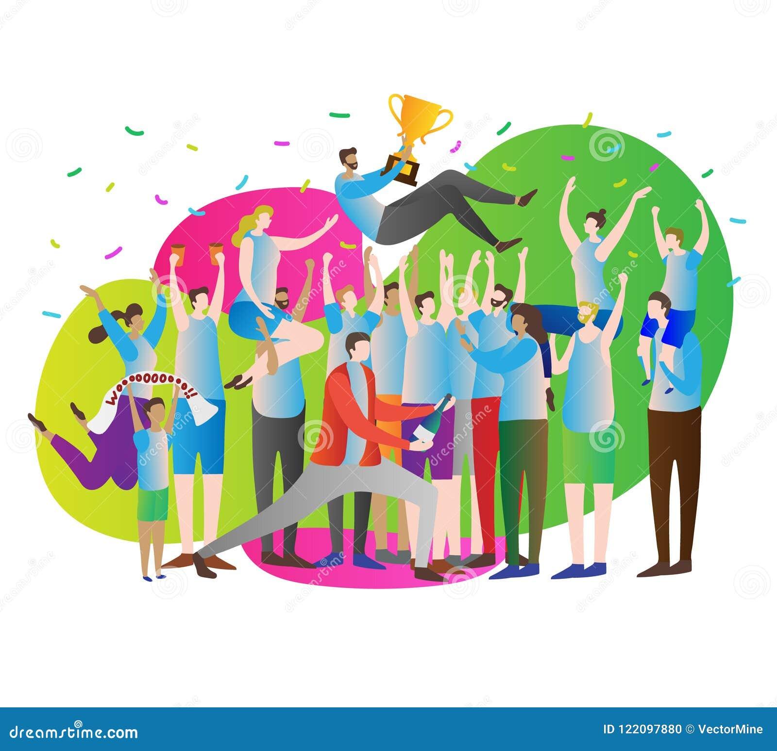 Иллюстрация вектора толпы победы Торжество и партия Руководитель спортсмена с чашкой золота и вентиляторами, сторонниками с рукам