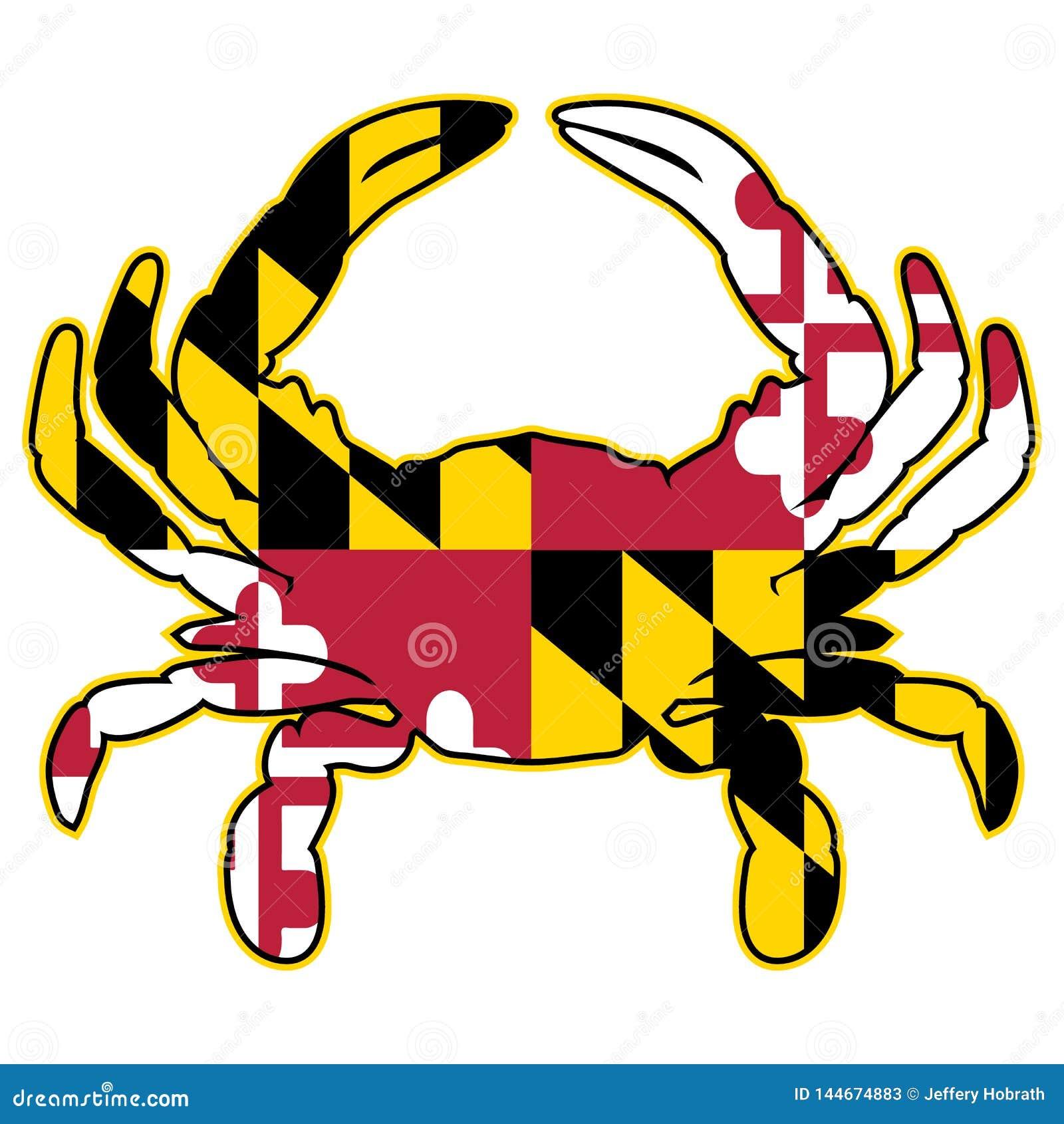 Иллюстрация вектора флага Мэриленда изолированная крабом