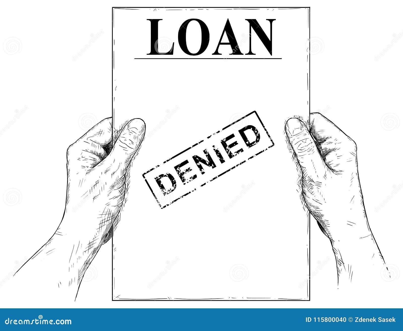 Иллюстрация вектора художнические или чертеж рук держа отказанный документ заявки на кредит