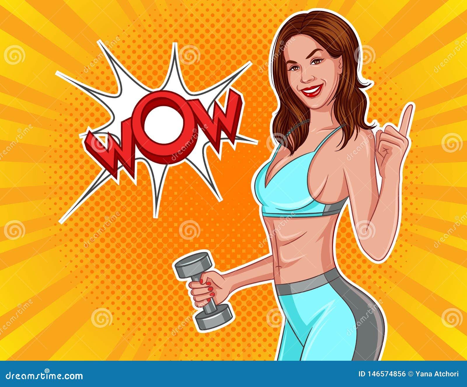 Иллюстрация вектора цвета в шуточном стиле искусства попа Атлетическая девушка с гантелями в их руках