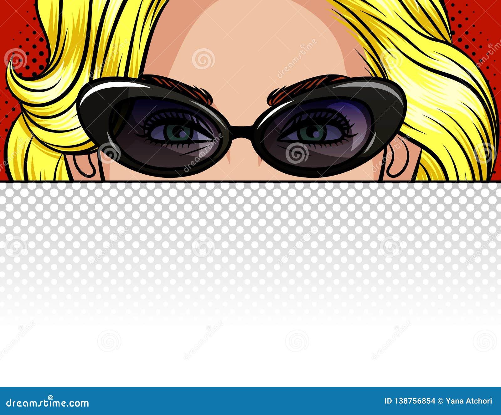 Иллюстрация вектора цвета девушки за белым листом бумаги Плакат в стиле блондинкы искусства попа красивой в винтажном gl