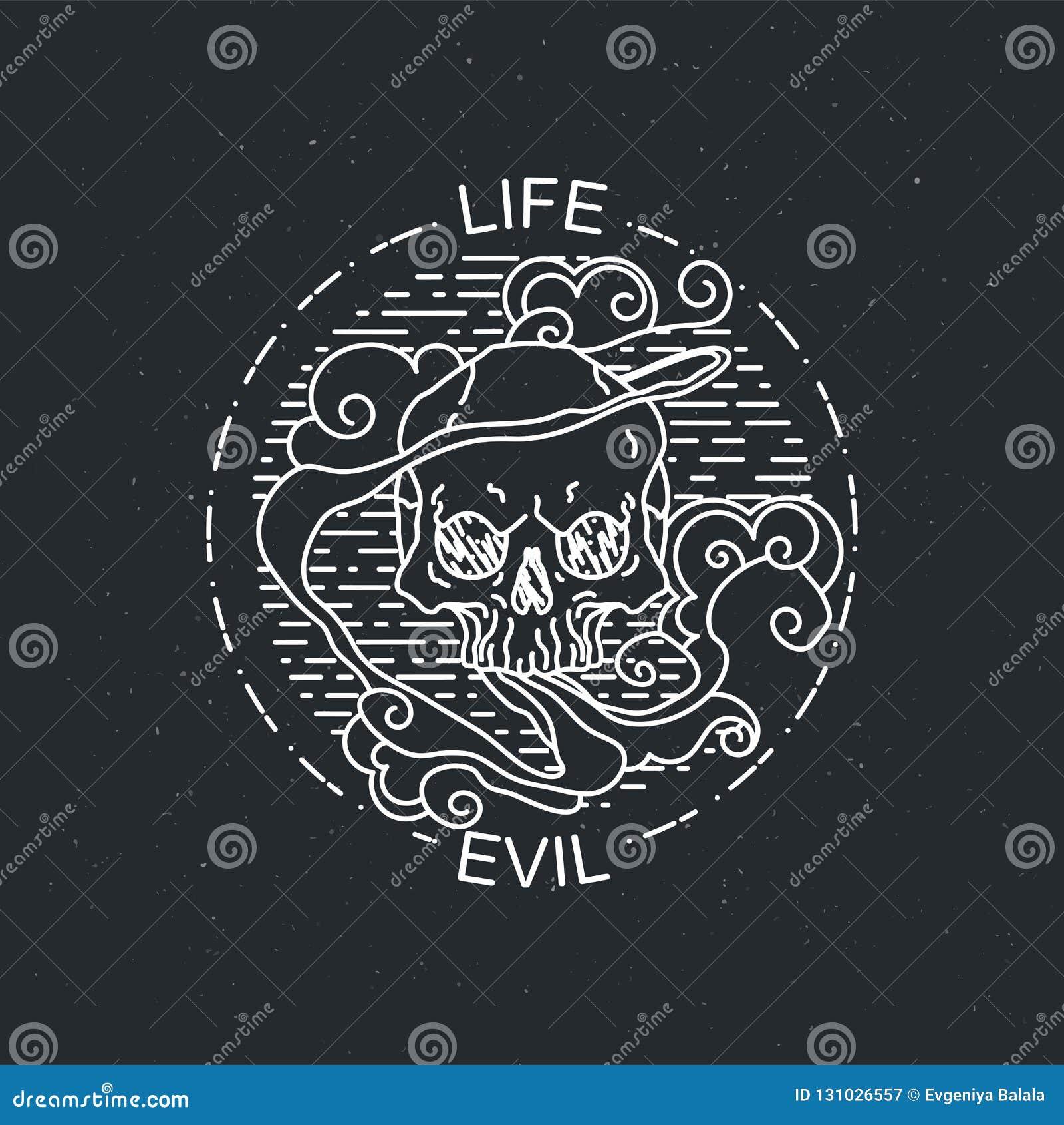 Иллюстрация вектора черепа черно-белой татуировки графического человеческого