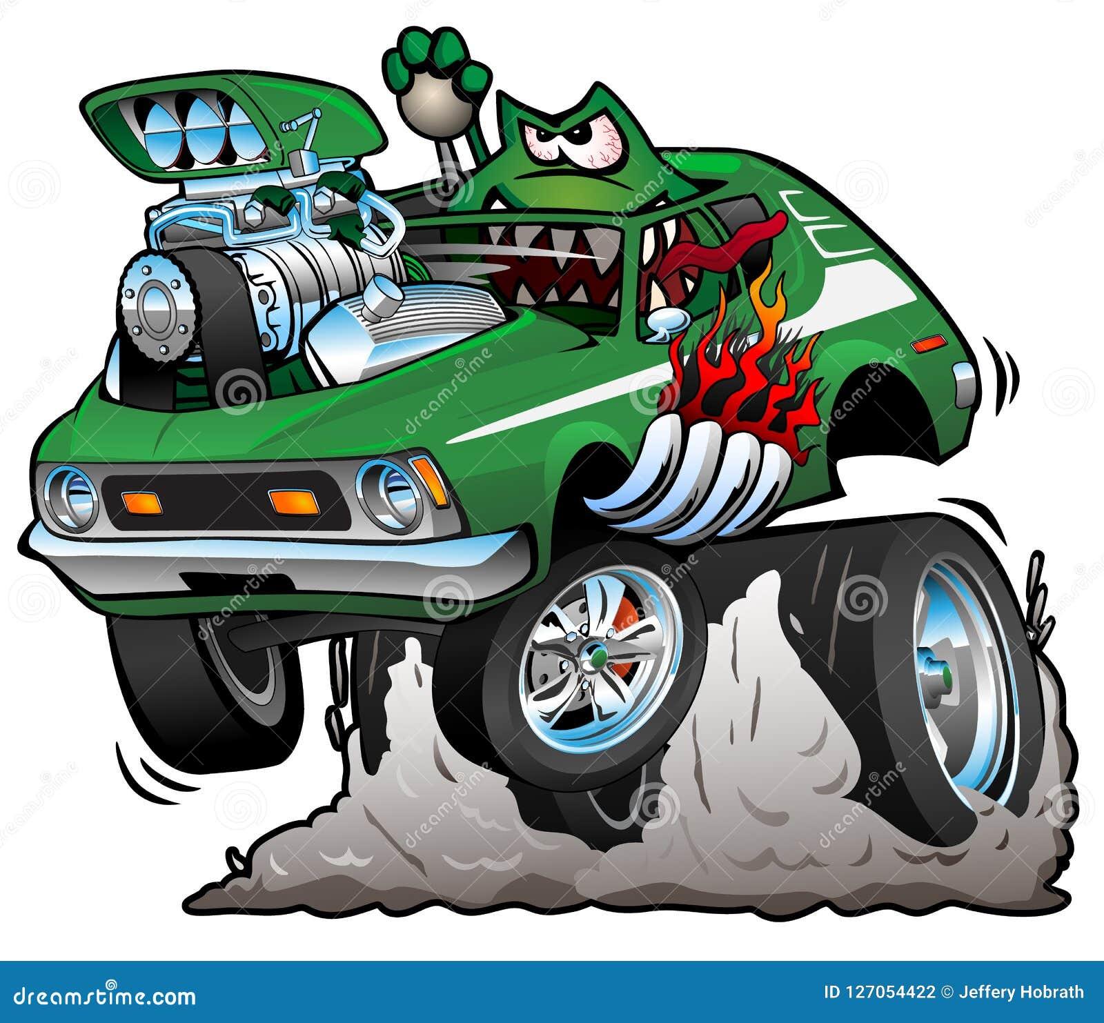 Иллюстрация вектора шаржа автомобиля штанги семидесятых годов зеленая горячая смешная