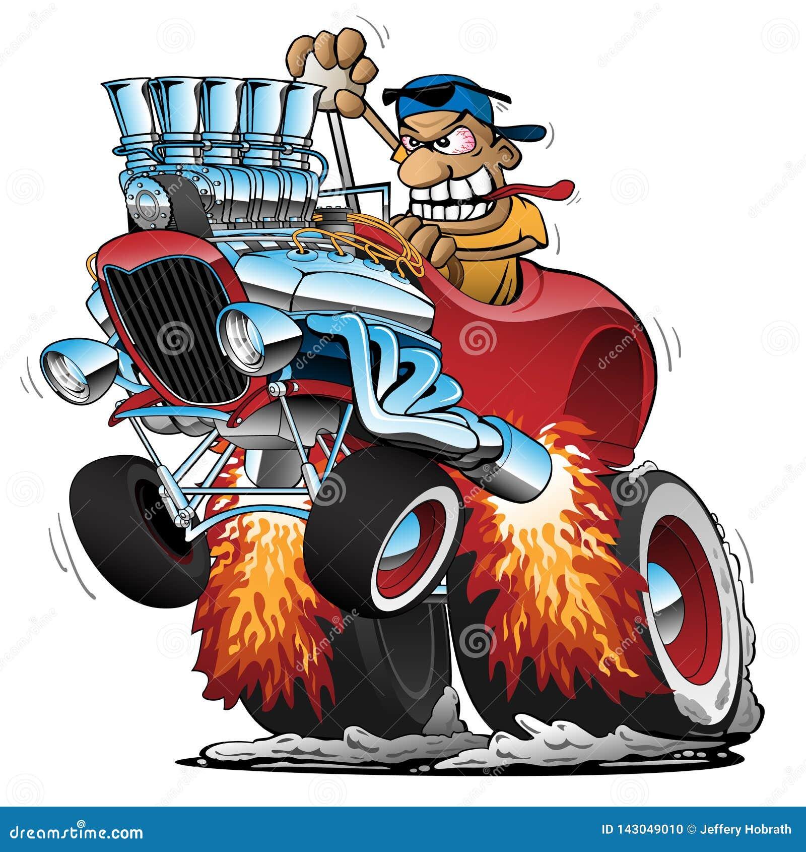 Иллюстрация вектора шаржа гоночной машины горячей штанги Highboy