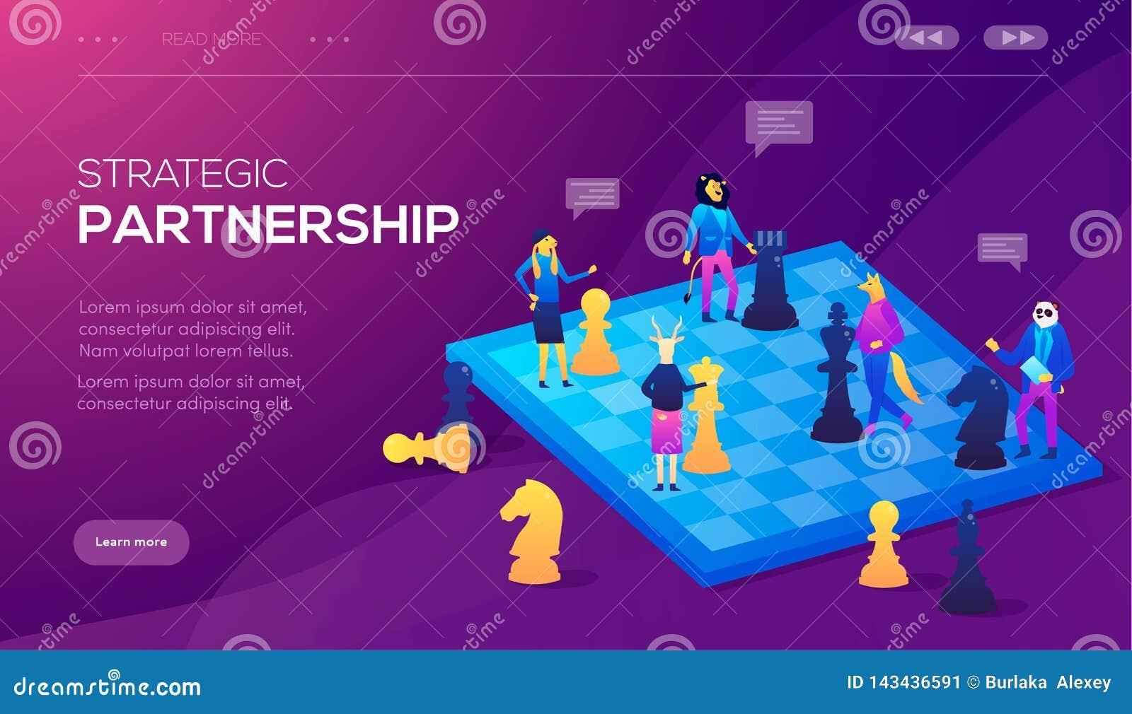 Иллюстрация вектора шахмат концепции дела Концепция партнерства, согласование партий, подписывая документов