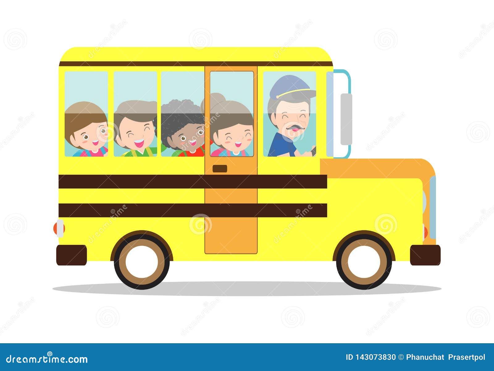 Иллюстрация вектора школьного автобуса Счастливый усмехаться ягнится катание на школьном автобусе с водителем школа изолированная