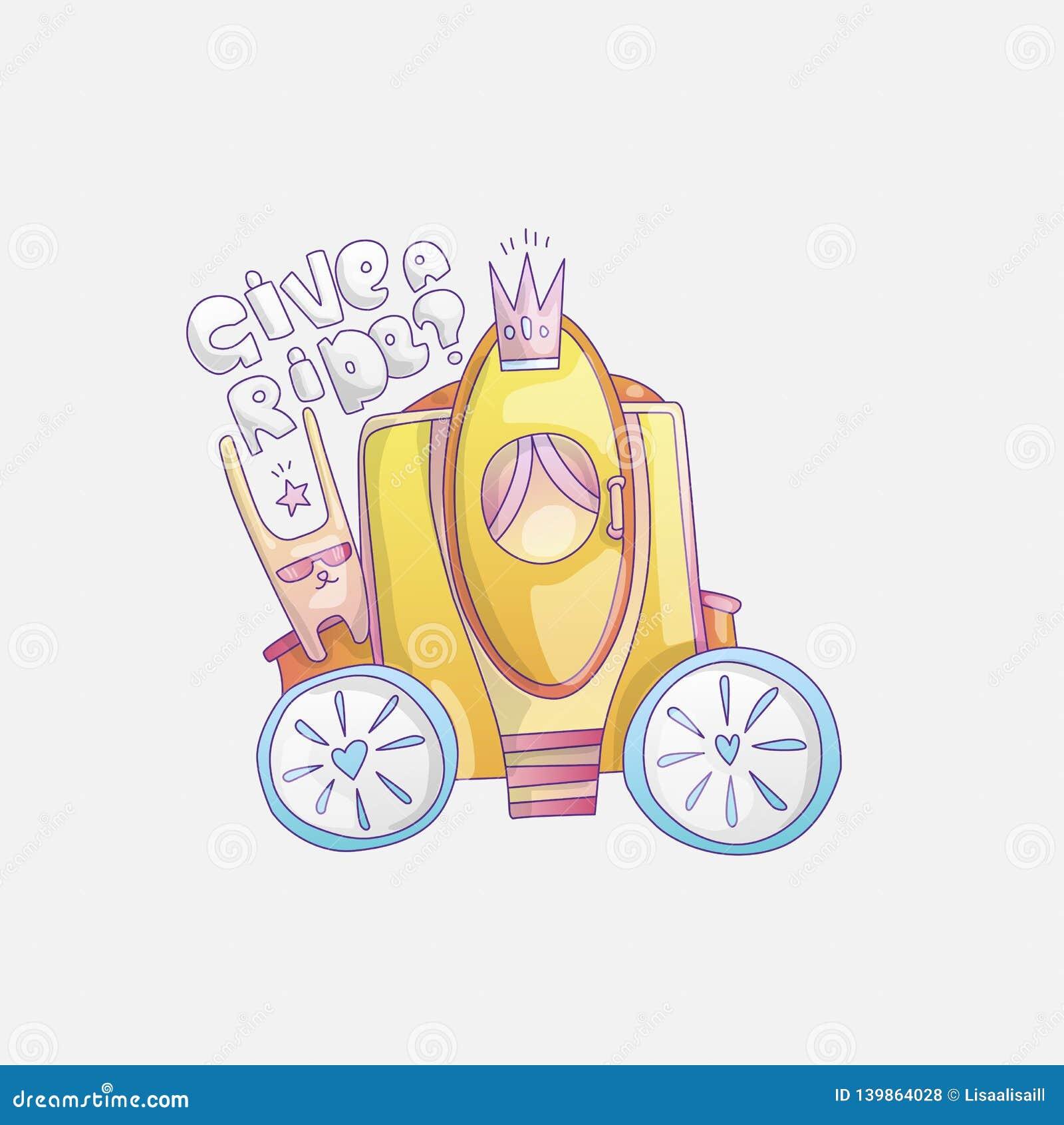 Иллюстрация вектора brougham милого мультфильма крутая с кроликом и дать литерность езды Brougham принцессы золота, волшебство