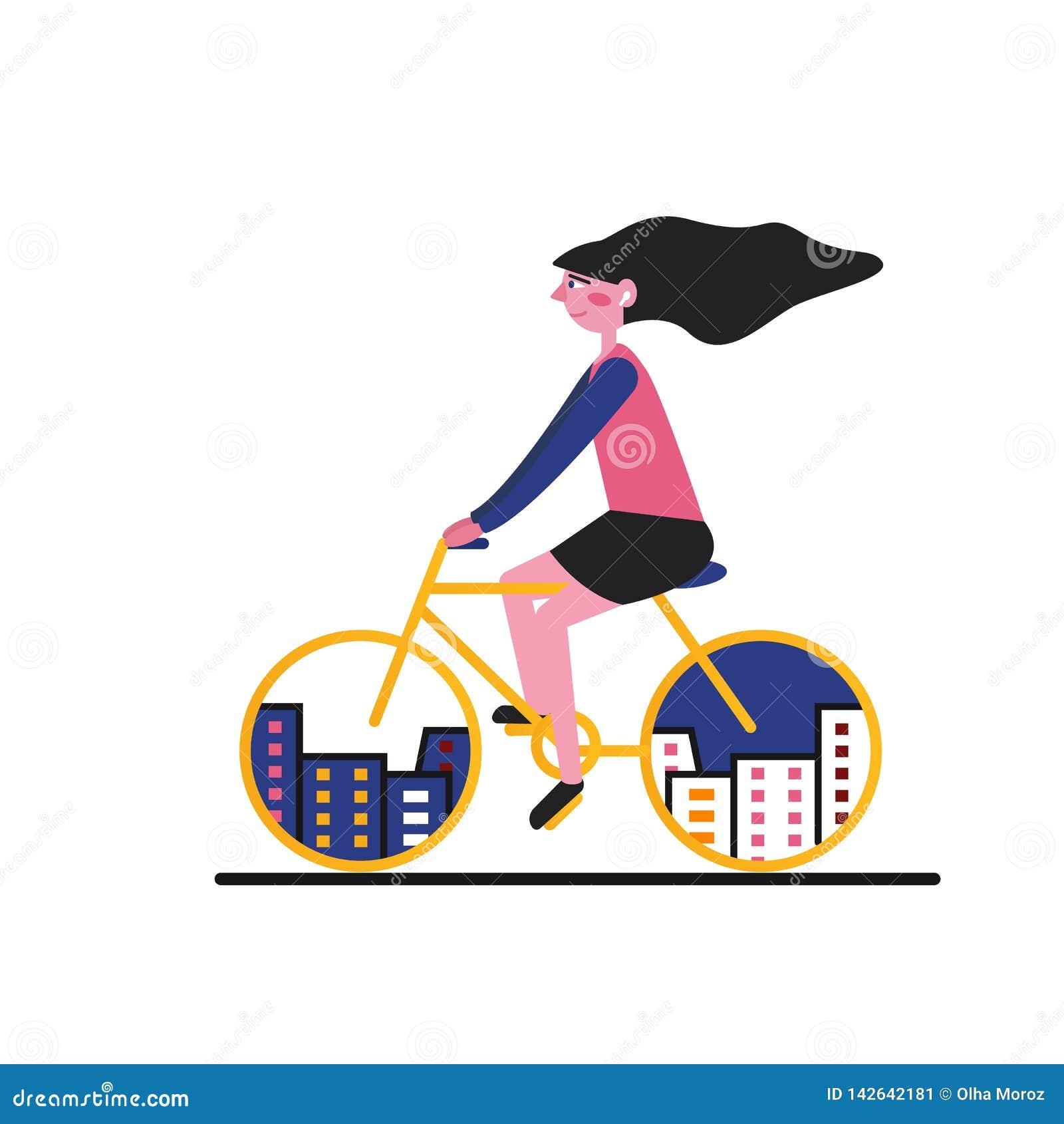 Иллюстрация велосипеда города девушка Плоский стиль