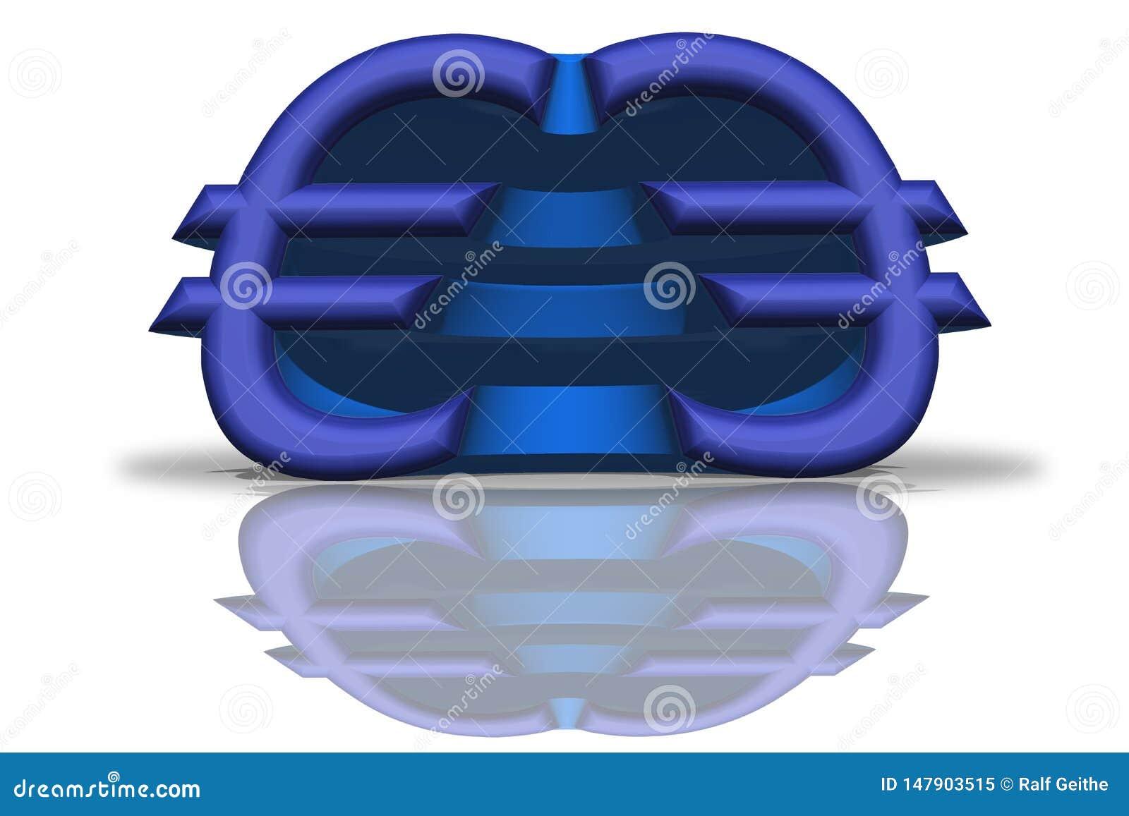Иллюстрация голубого отраженного евро подписывает в переводе 3D