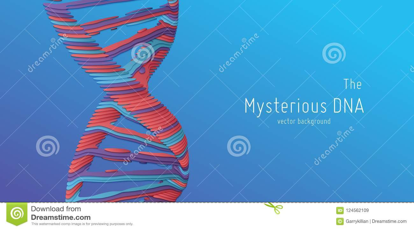 Иллюстрация двойной спирали дна вектора абстрактная как отрезок бумаги Загадочный источник предпосылки жизни Изображение Genom фу