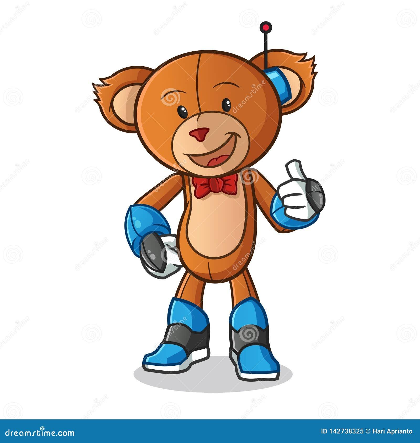 Иллюстрация искусства мультфильма вектора талисмана режима робота плюшевого мишки