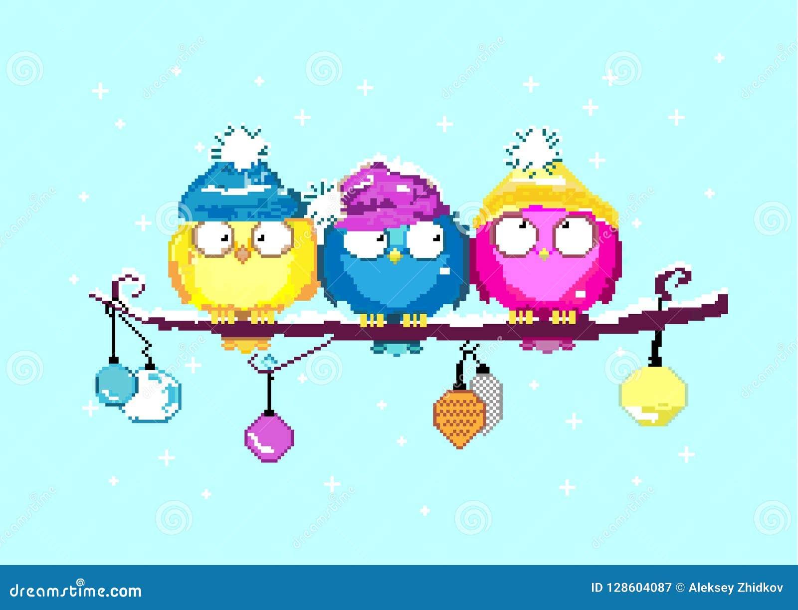 Иллюстрация искусства пиксела счастливое Новый Год птицы цветастые Птицы на ветви деревянное украшений рождества экологическое та