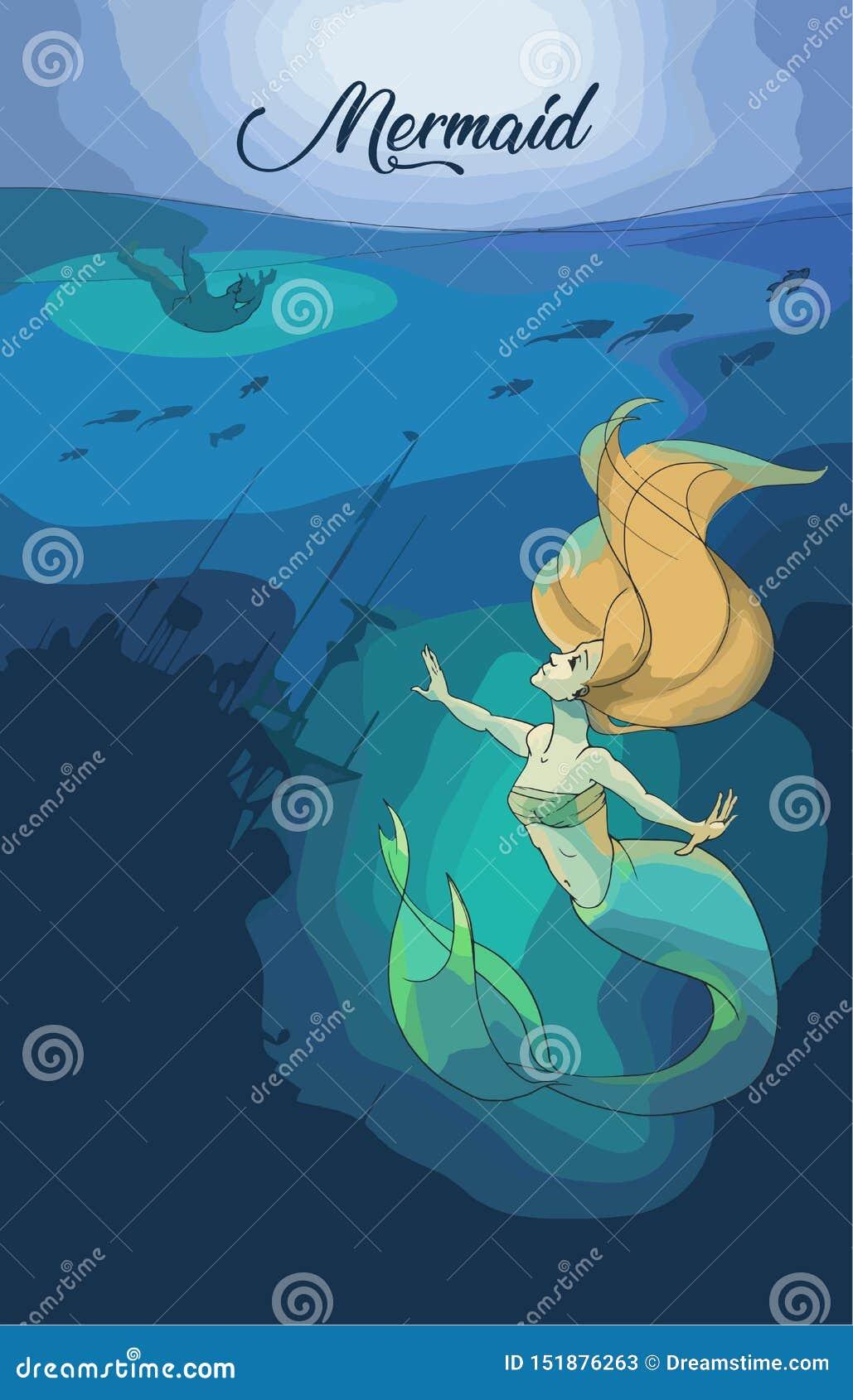 Иллюстрация искусства русалки