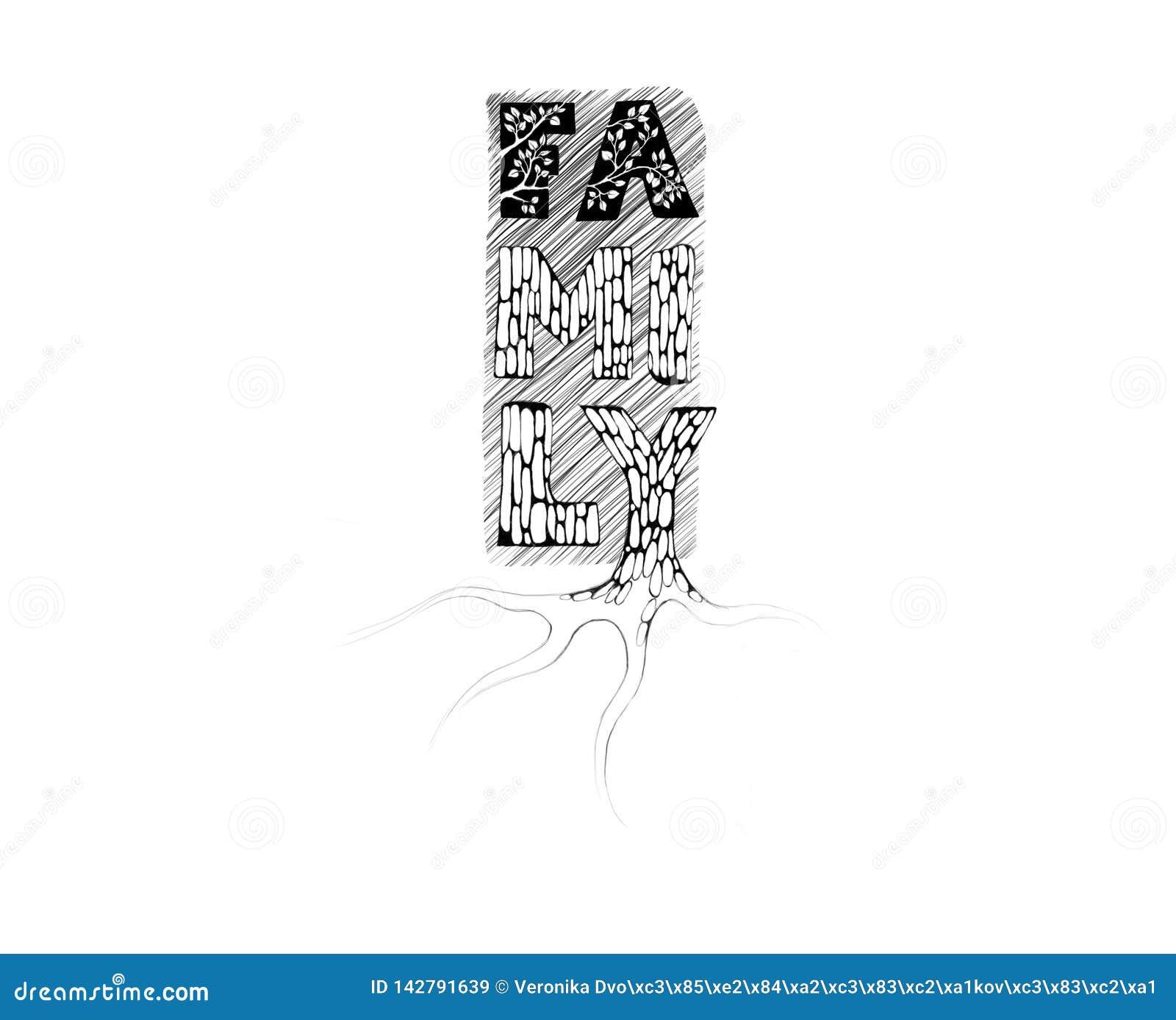 Иллюстрация искусства слова Семья текста стилизованная как дерево с корнями