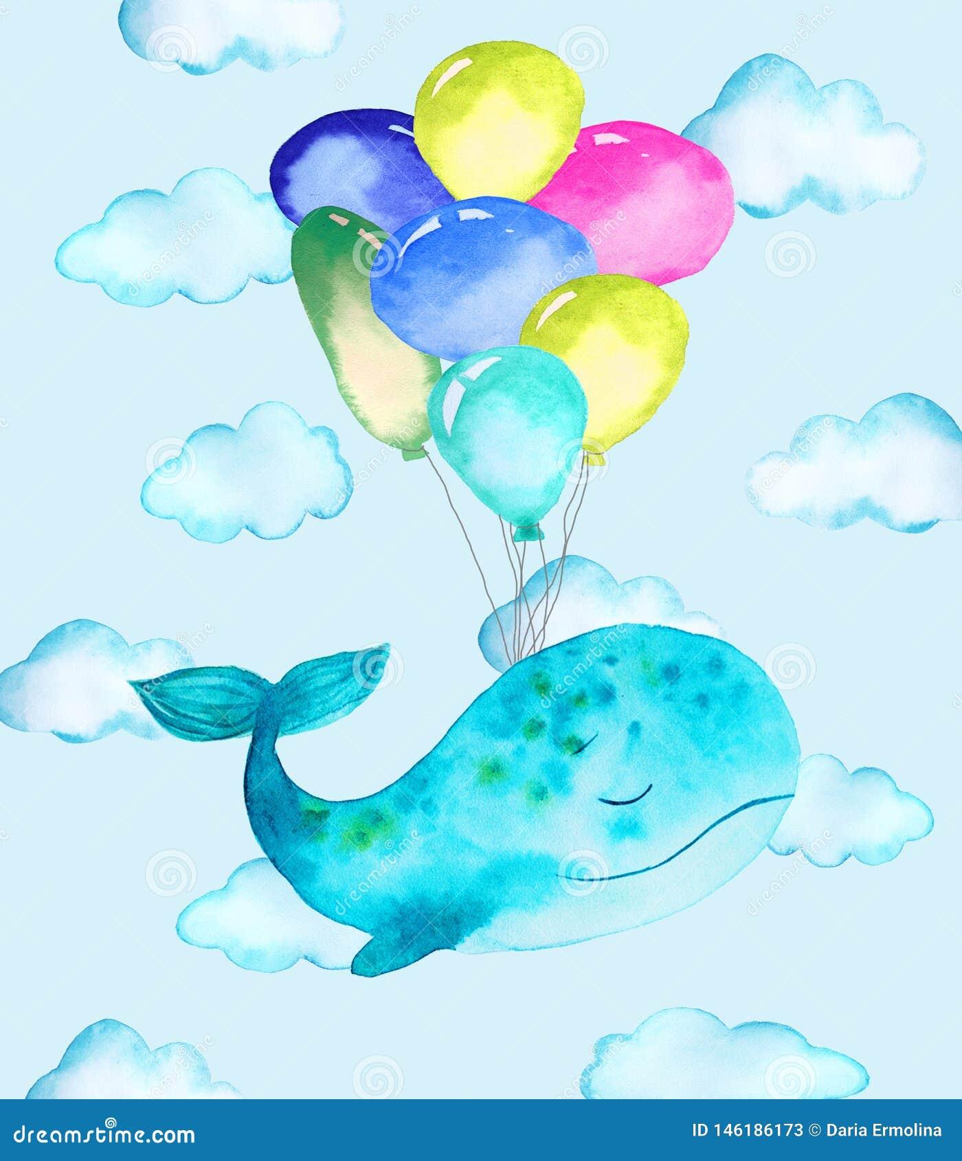 Иллюстрация кита и воздушных шаров