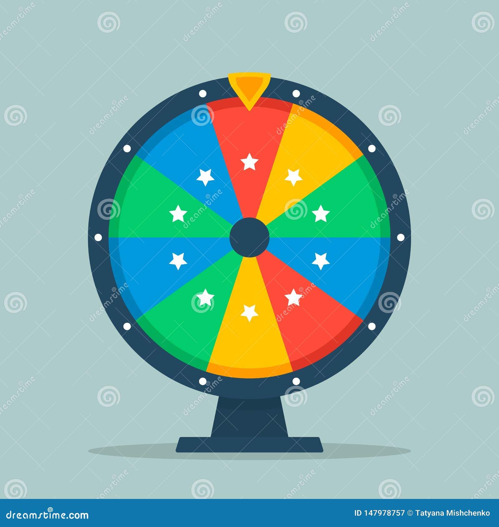 Иллюстрация колеса фортуны квартиры Пустое красочное колесо фортуны изолированное от предпосылки
