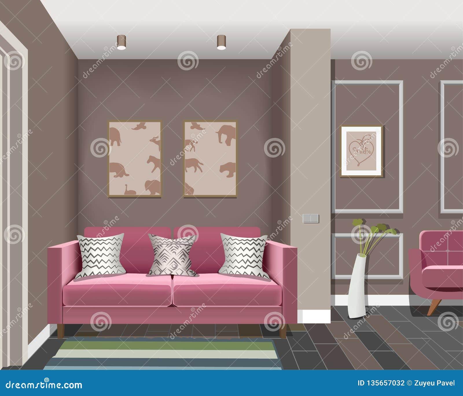 Иллюстрация комнаты с дверями, бургундского стула, бургундской софы, вазы, изображения Интерьер комнаты с мебелью