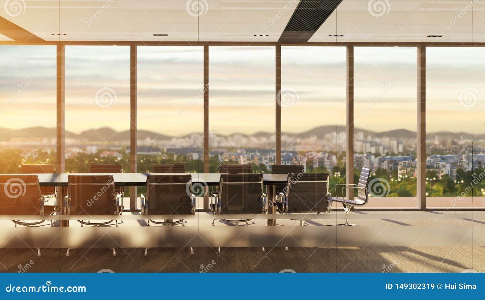 Иллюстрация конференц-зала никто с видом на город на заходе солнца