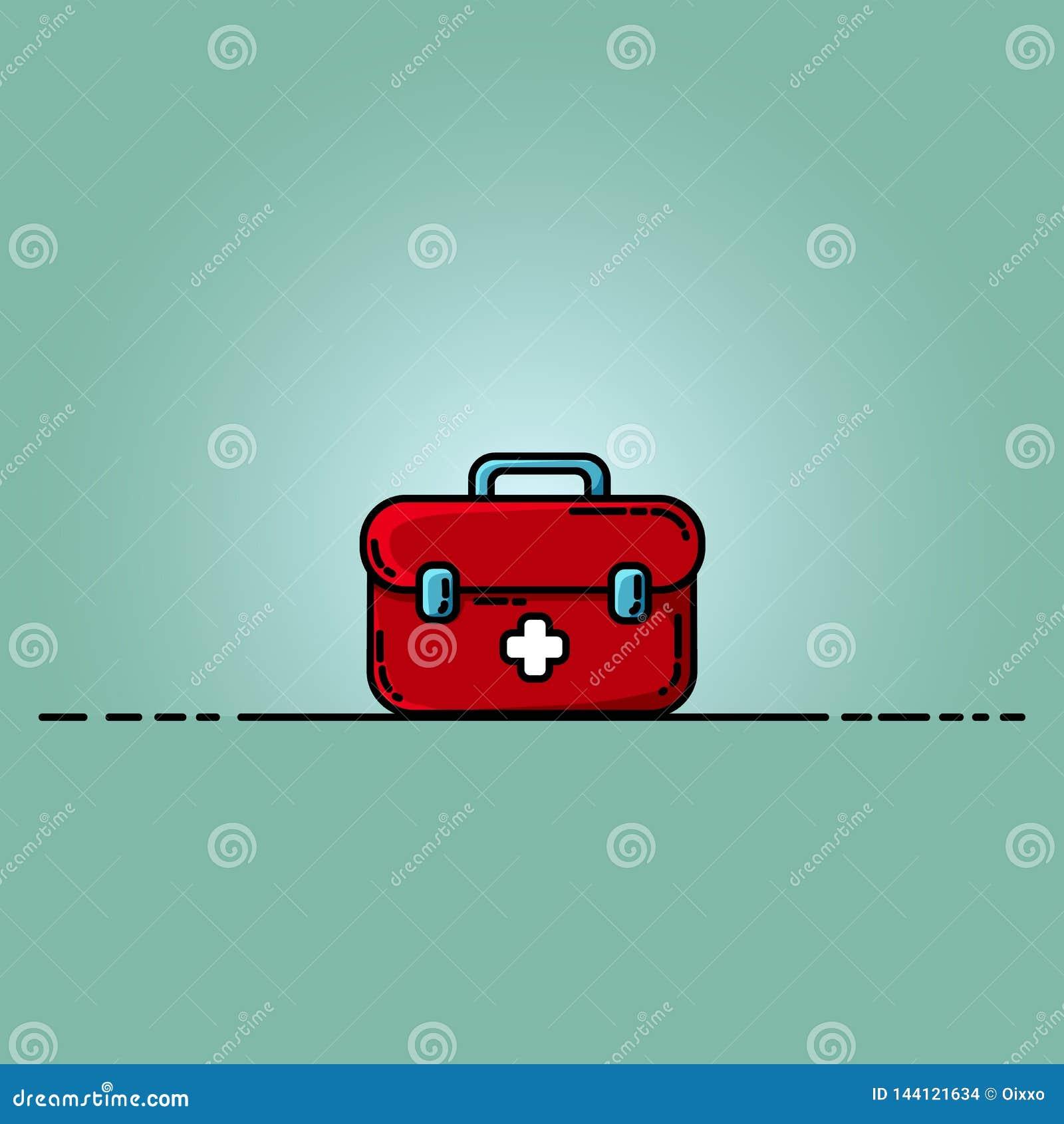 Иллюстрация коробки бортовой аптечки плоская Комод медицины с белым крестом