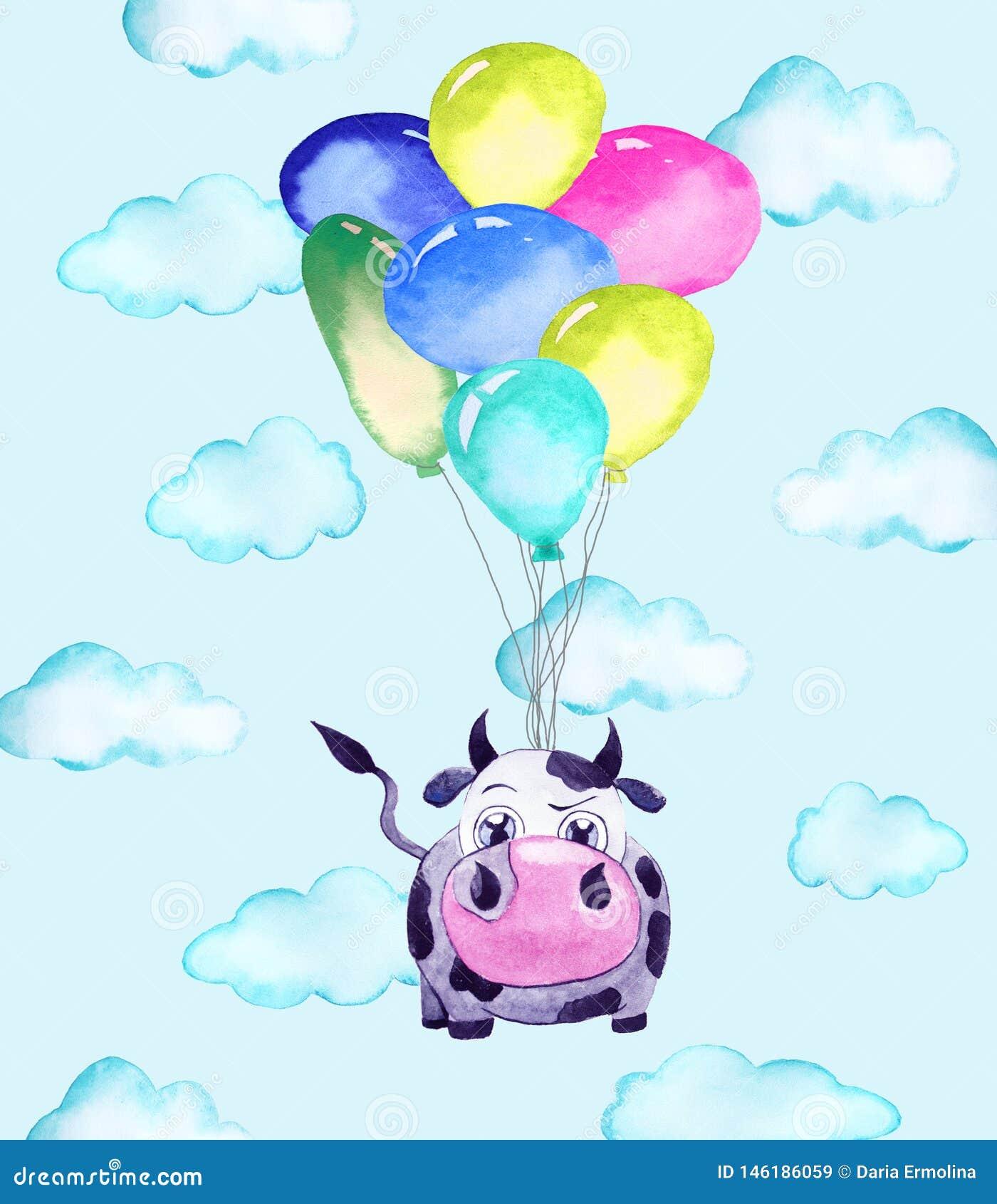 Иллюстрация коровы и воздушных шаров