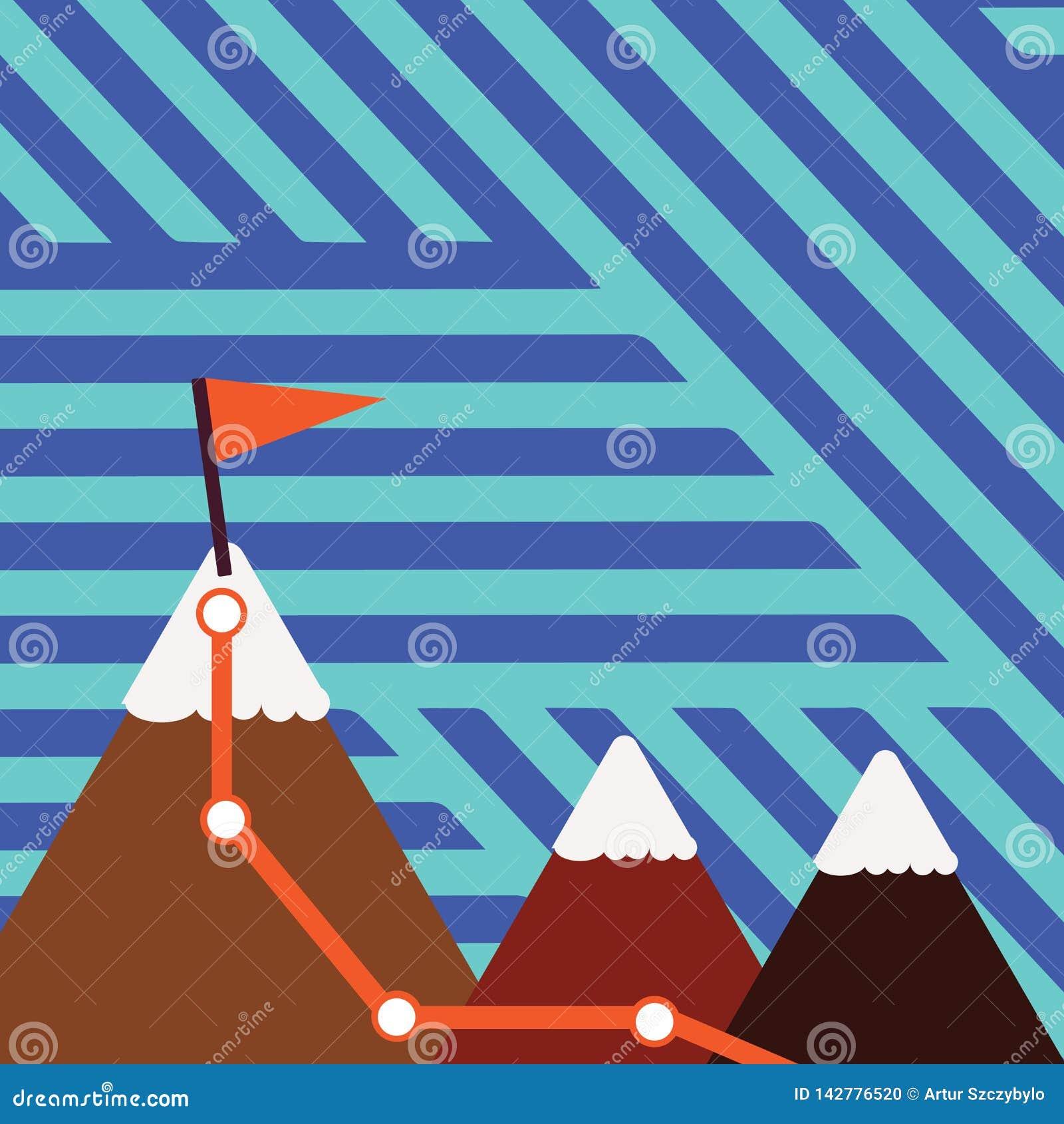 Иллюстрация 3 красочных гор со следом и белой верхней части Snowy с флагом на одном пике предпосылка творческая