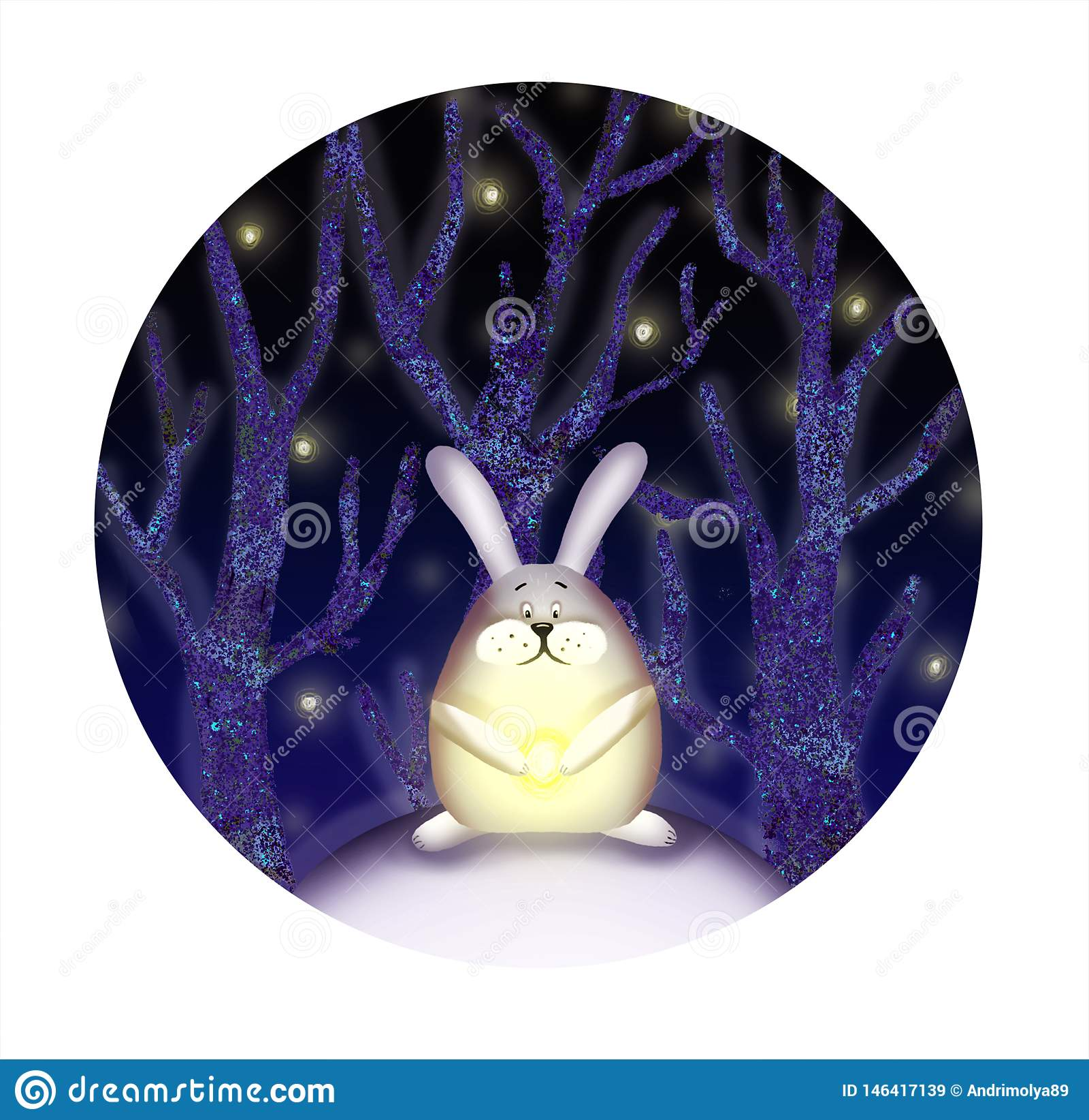 Иллюстрация кролика в лесе