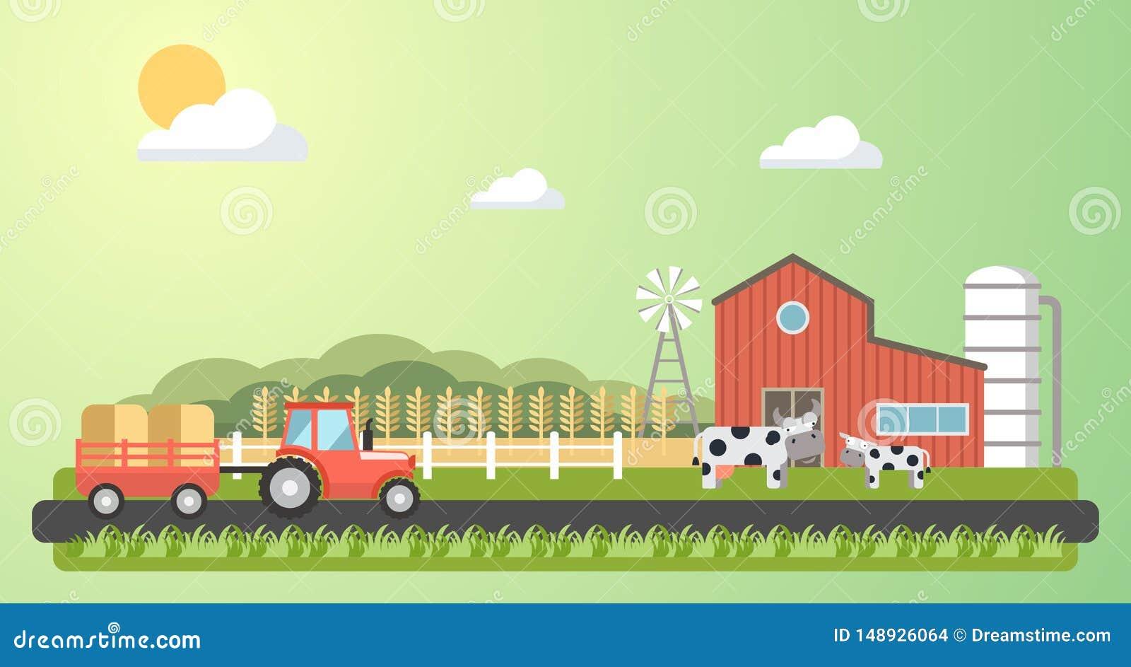 Иллюстрация ландшафта деревни фермы