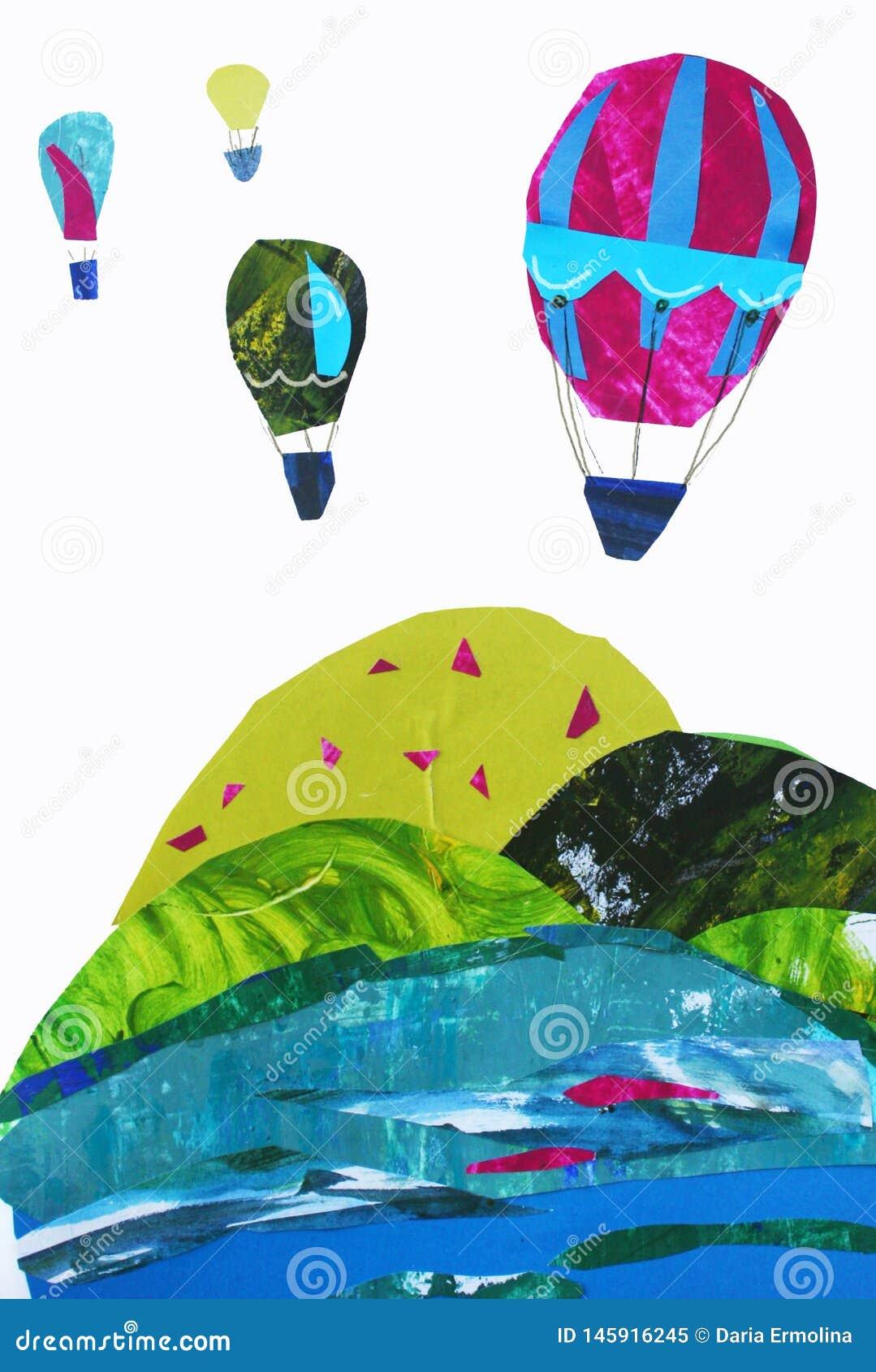 Иллюстрация ландшафта и воздушных шаров горы