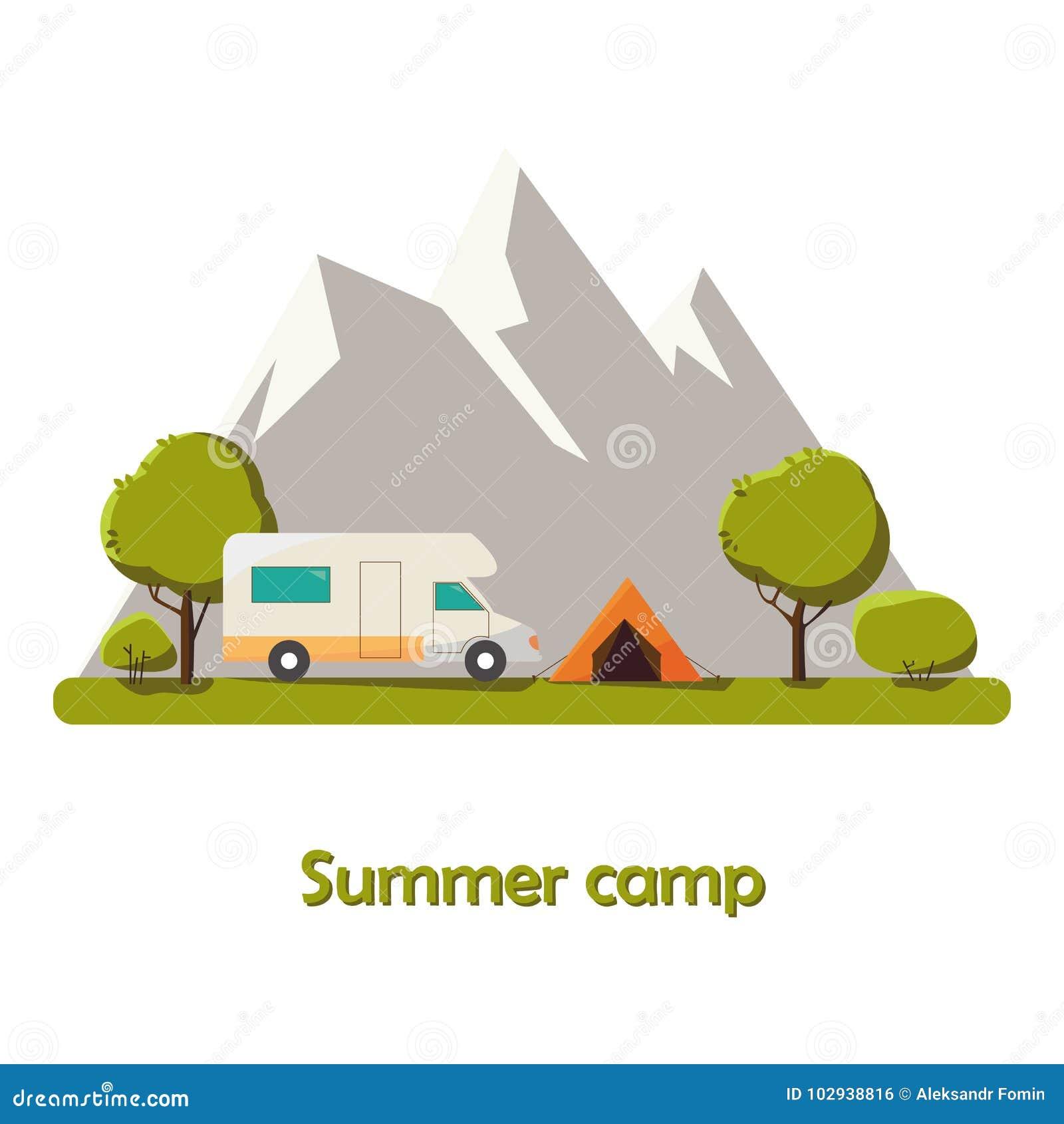 Иллюстрация ландшафта солнечного дня летнего лагеря в плоском стиле с шатром, лагерным костером, горами, предпосылка леса для лет