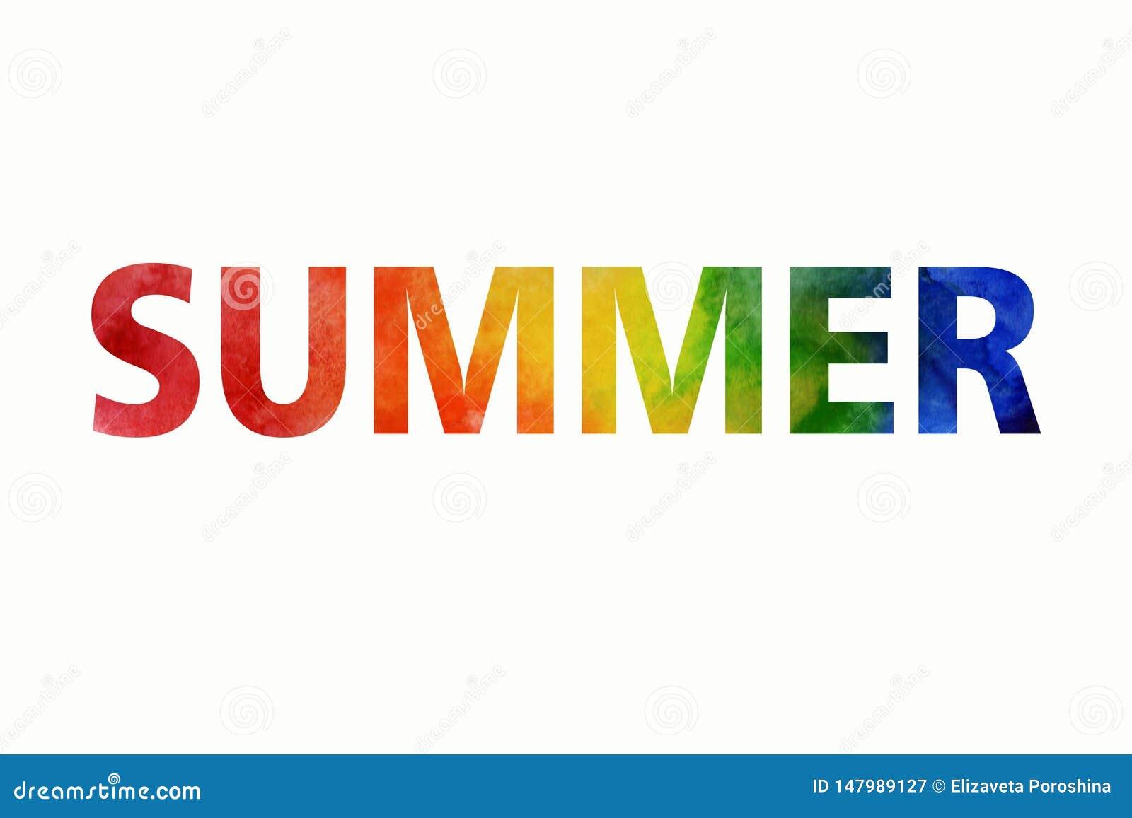 Иллюстрация лета акварели Покрашенное вручную лето надписи радуги