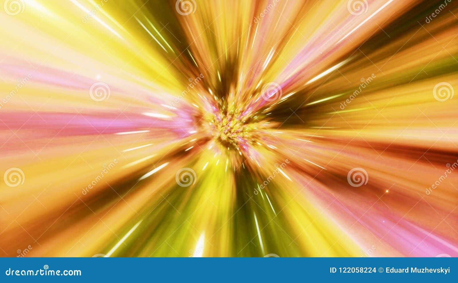 Иллюстрация межзвездного перемещения через желтую червоточину заполнила с звездами