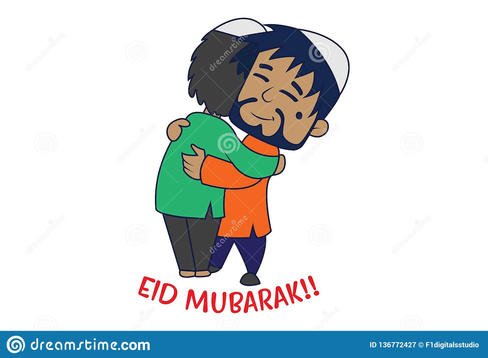 Иллюстрация мультфильма милого мусульманского человека