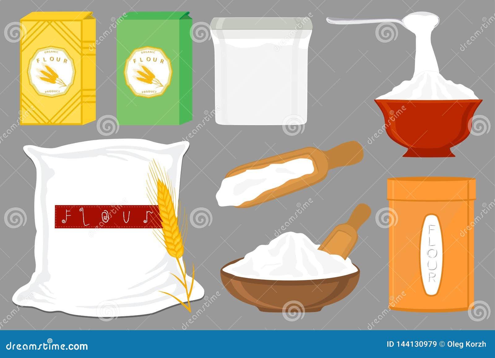 Иллюстрация на посуде разных видов темы большой установленной заполнила пшеничную муку